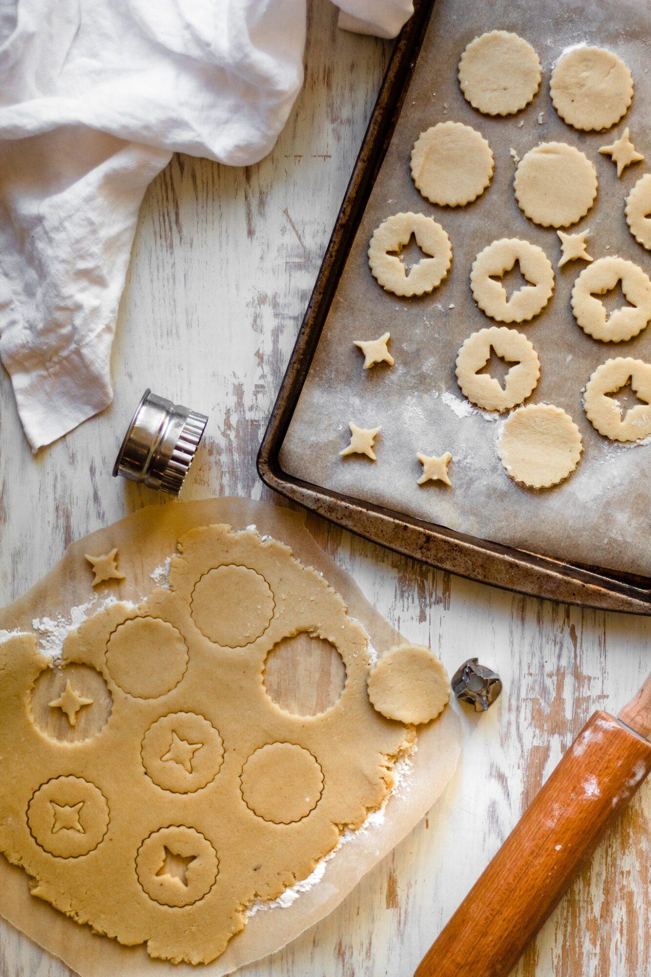 linzer cookies on cookie sheet