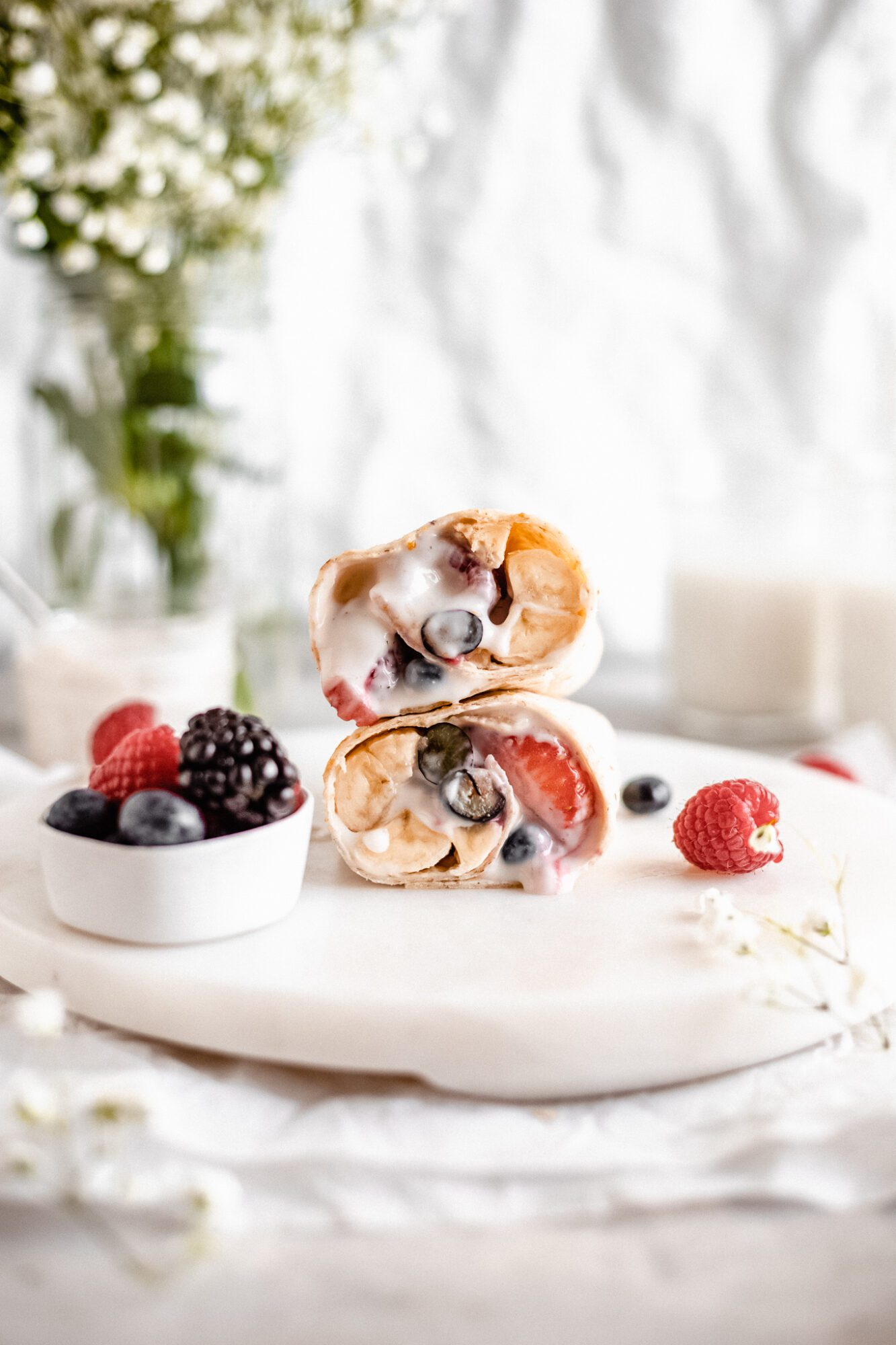 yogurt and berry breakfast burrito