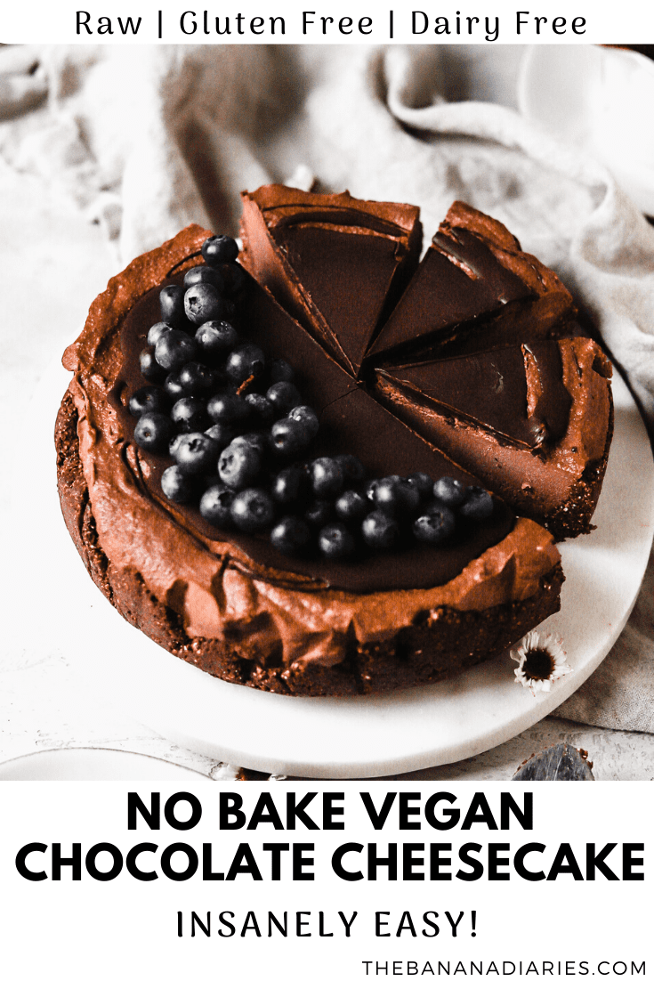 pinterest image for healthy chocolate cheesecake