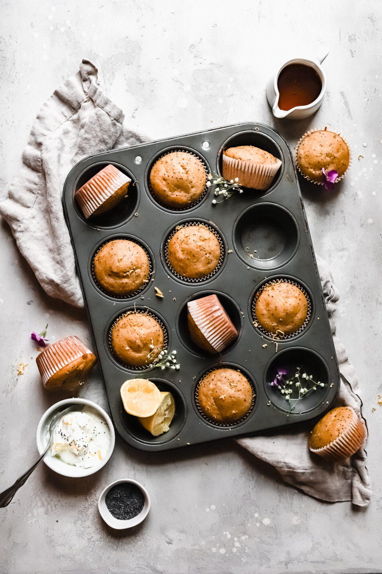 muffin tin of lemon poppy seed muffins