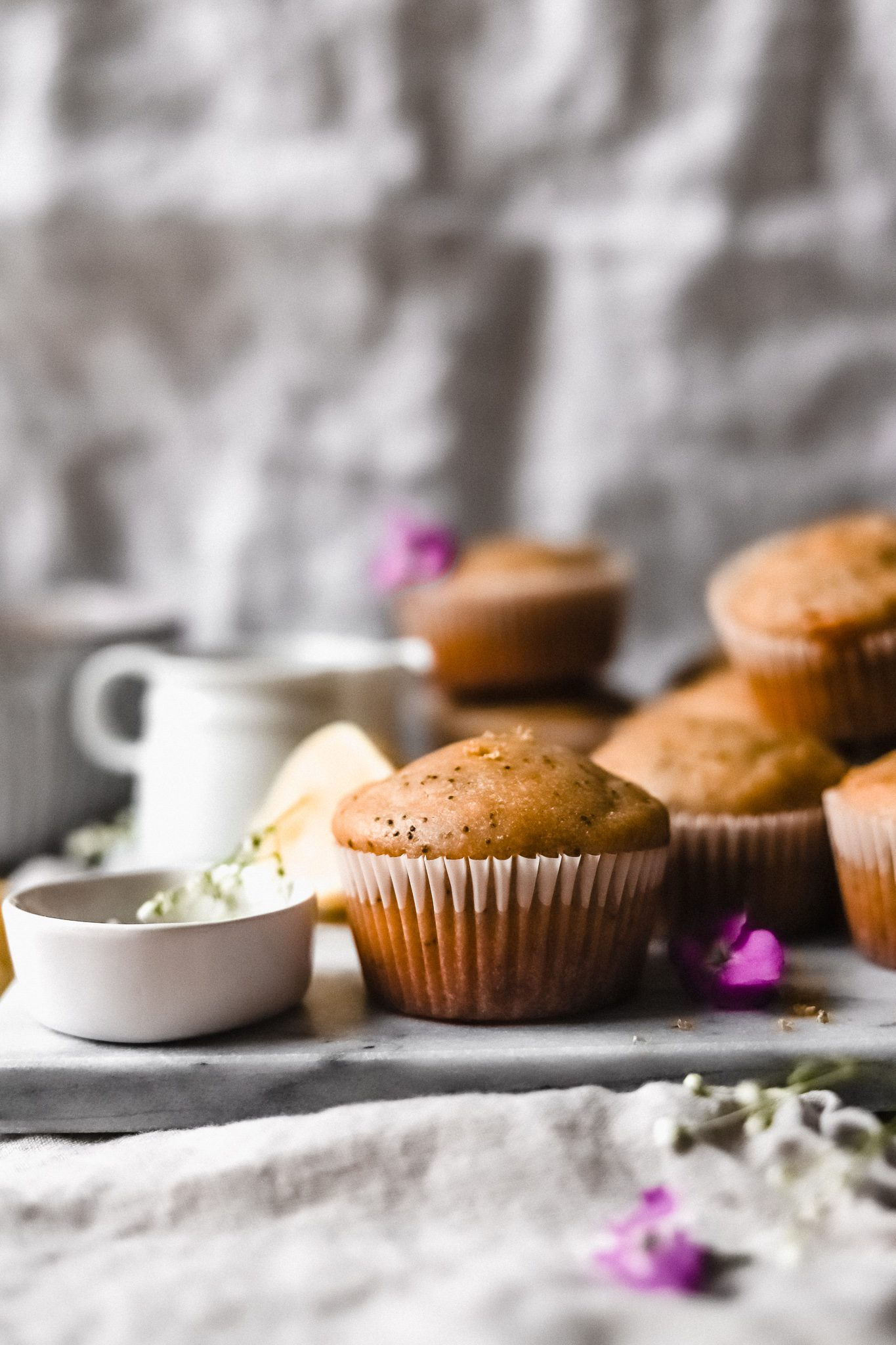 lemon poppy seed muffins with flowers