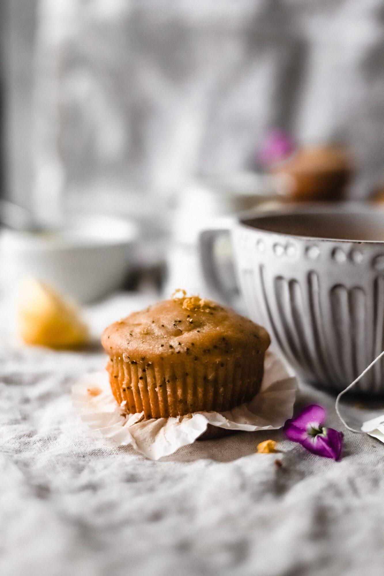 tea mug with gluten free lemon poppy seed muffin