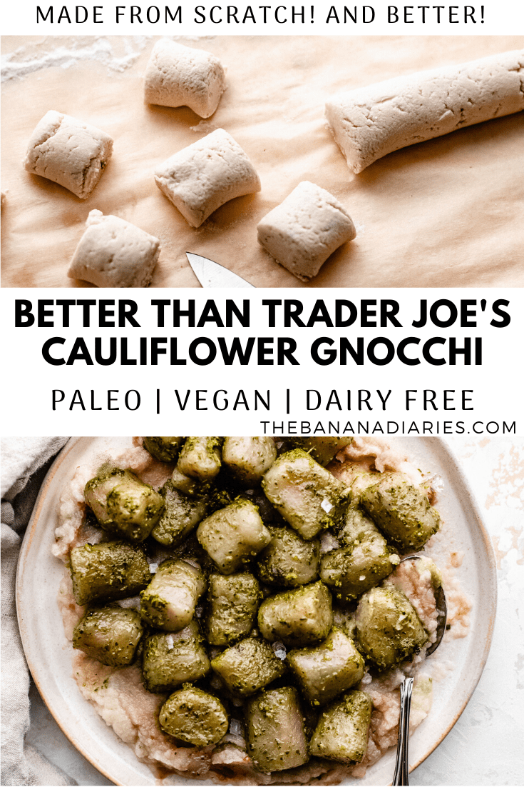 pinterest image for paleo vegan cauliflower gnocchi