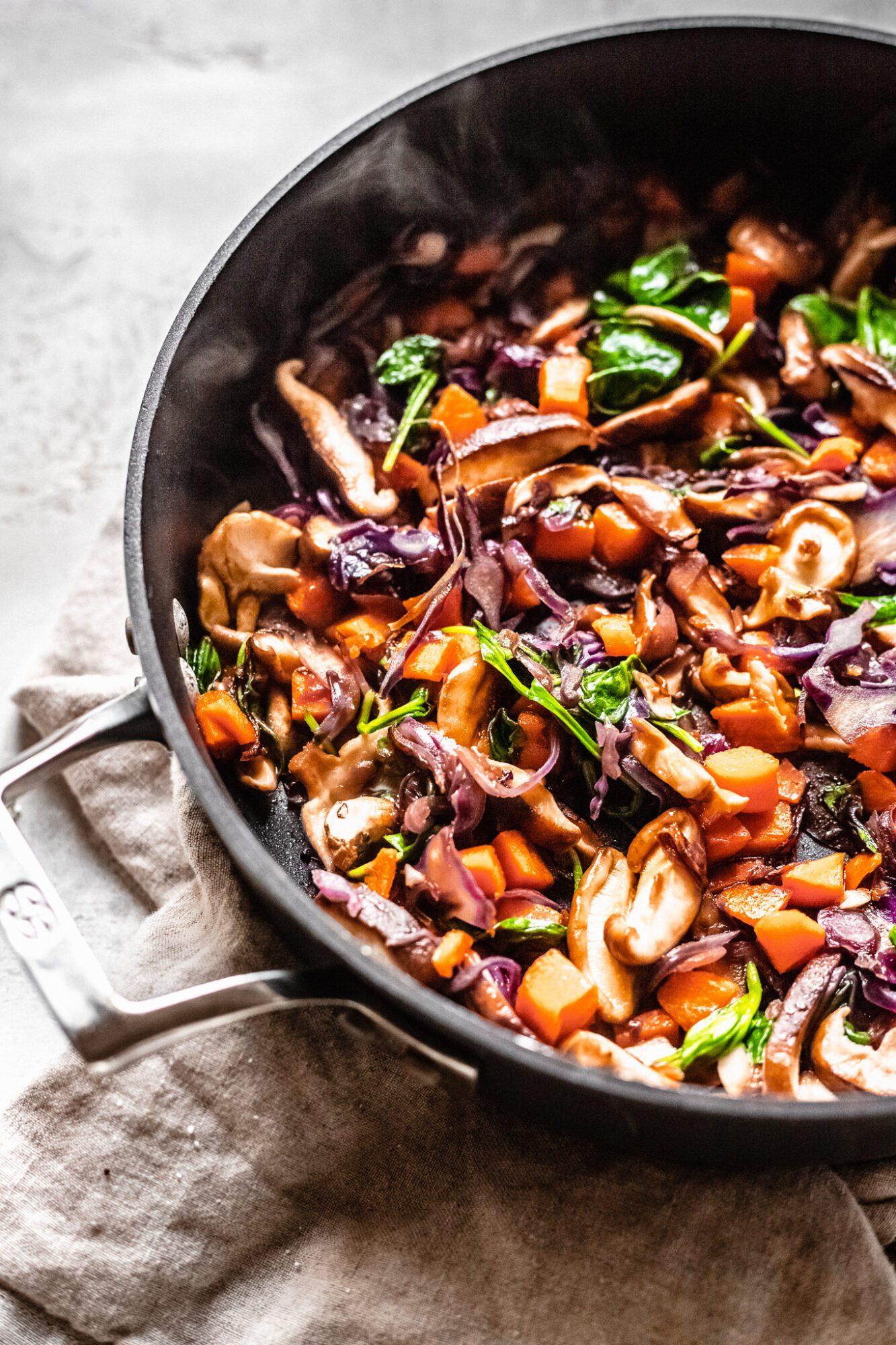 sauteed stir frey veggies in skillet