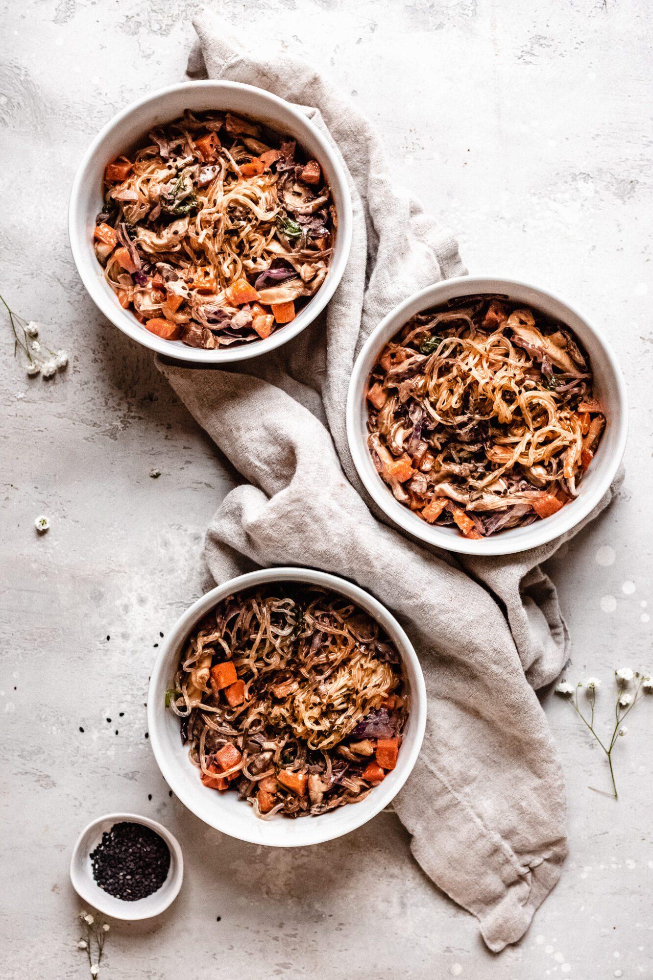 three bowls of veggie stir fry