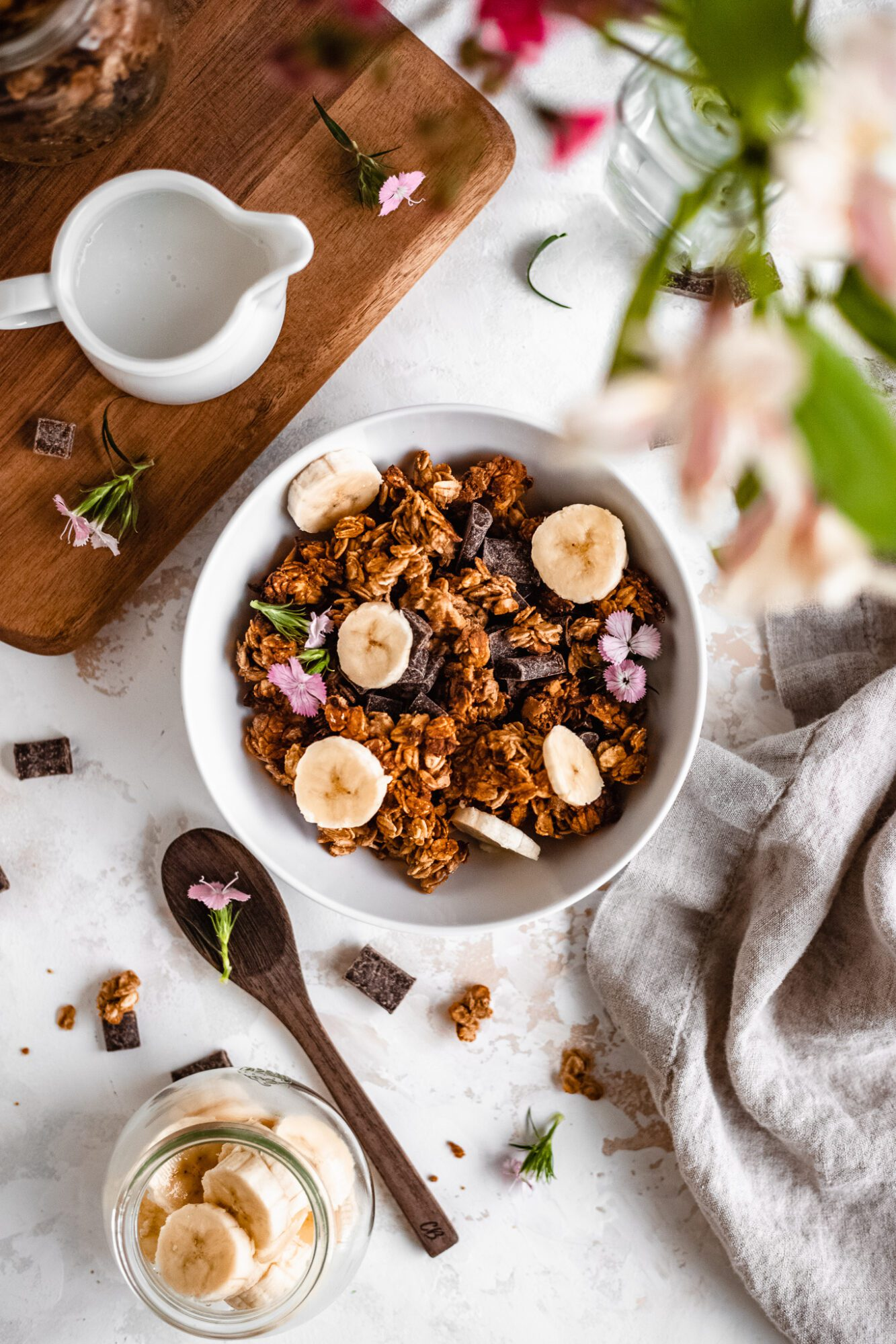 bowl with banana bread granola
