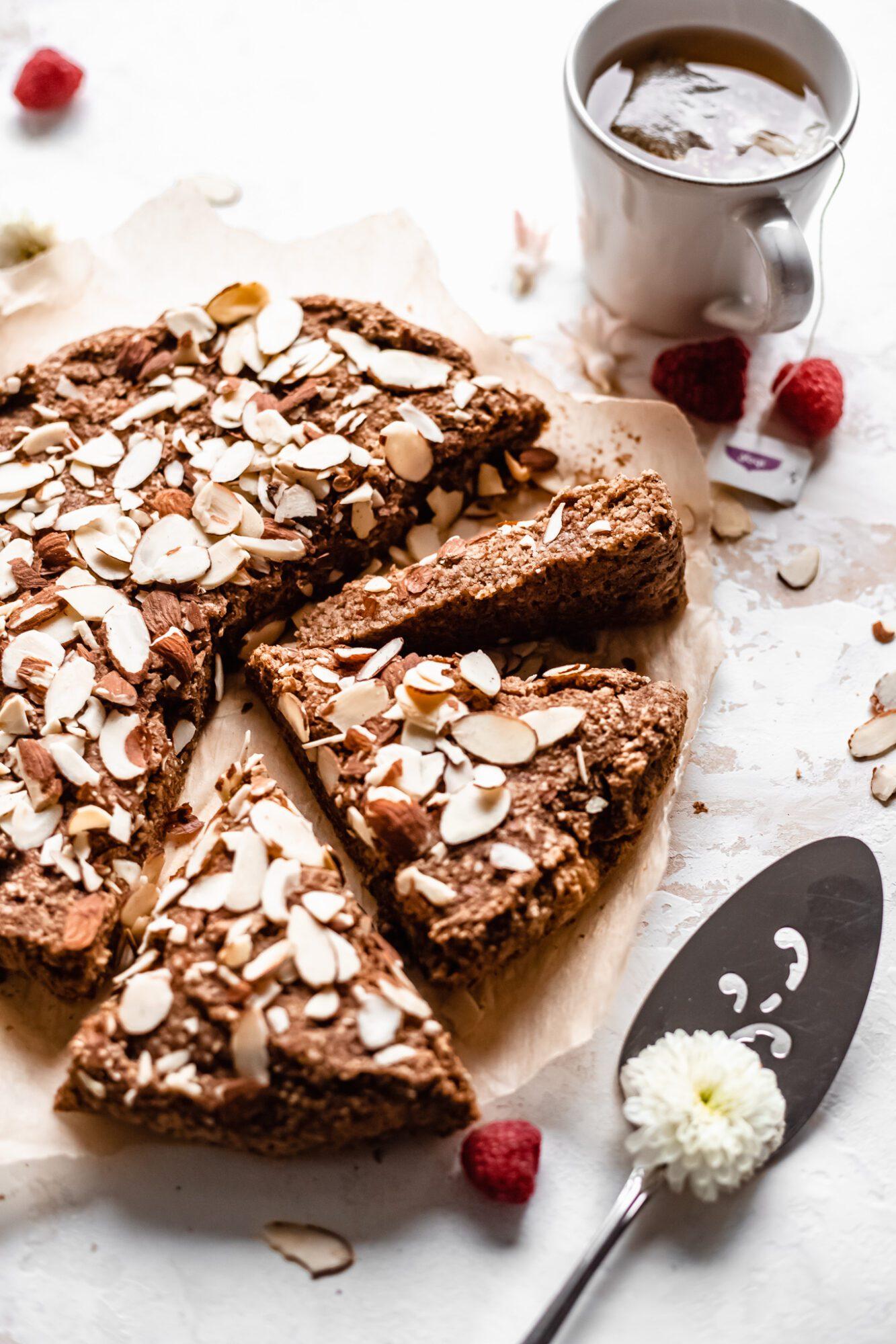 almond cake with tea bag