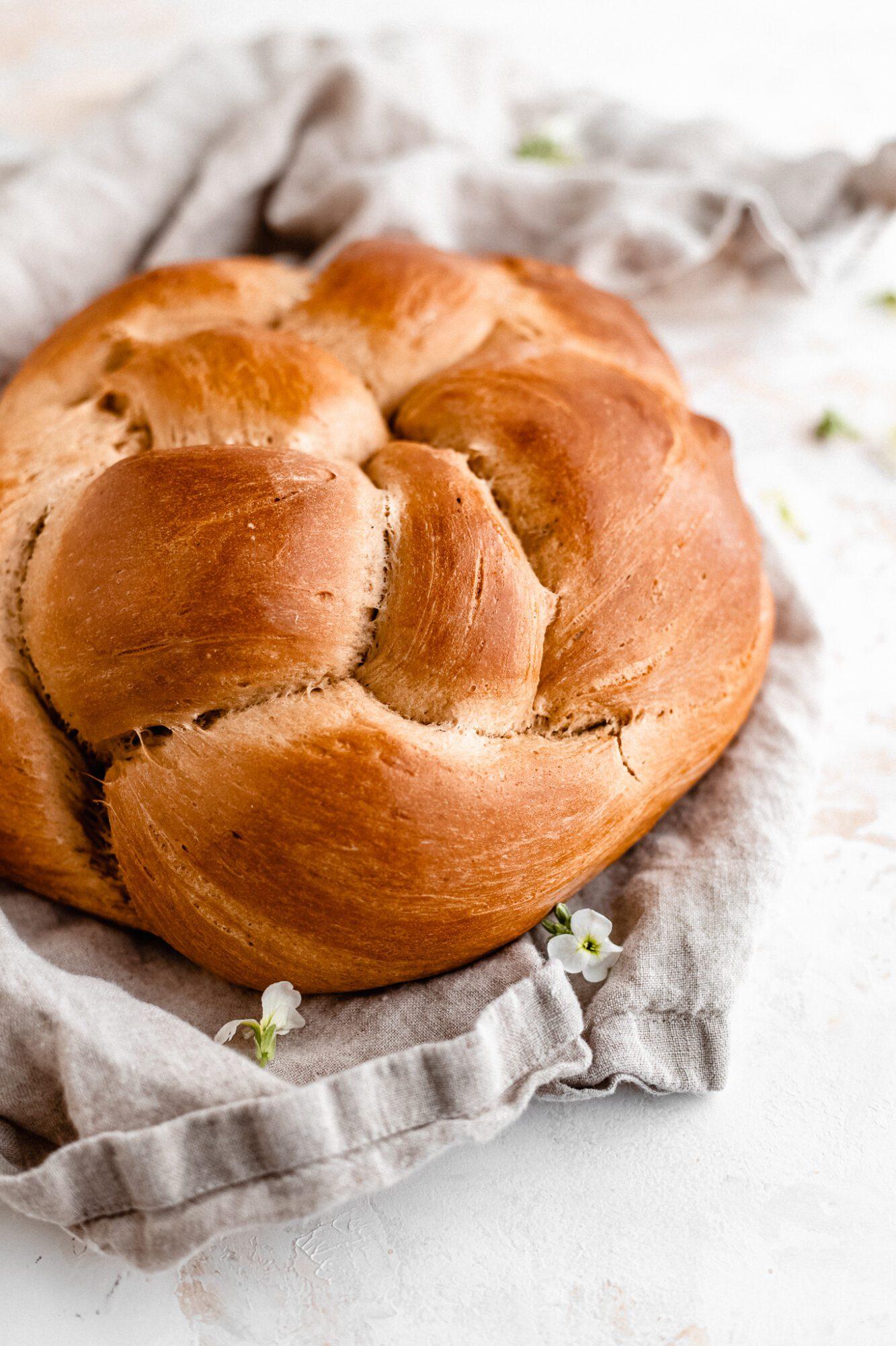 close up of vegan challah bread