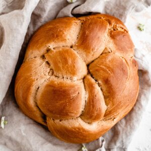 vegan challah bread on cloth