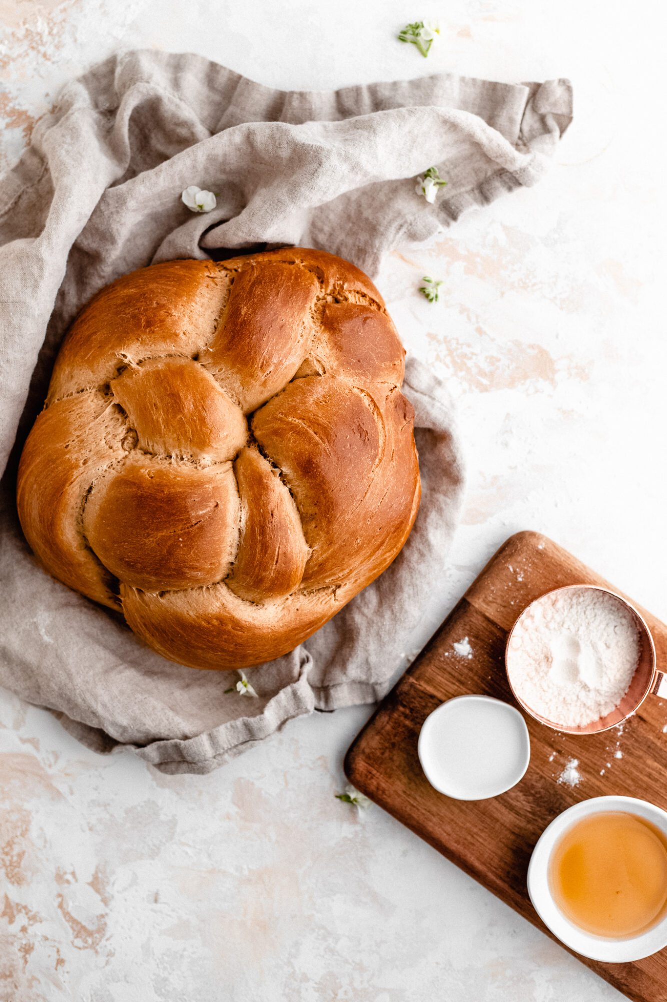 baked challah bread with ingredients