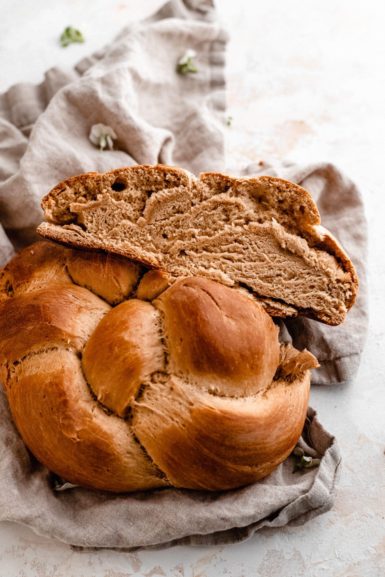 sliced challah bread