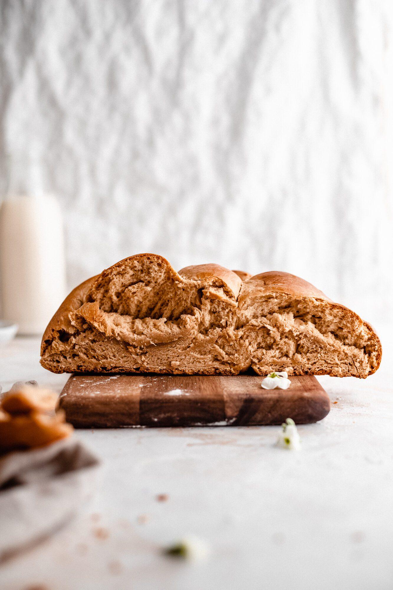sliced half of vegan challah bread