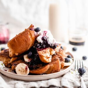 Plate of vegan french toast with berries
