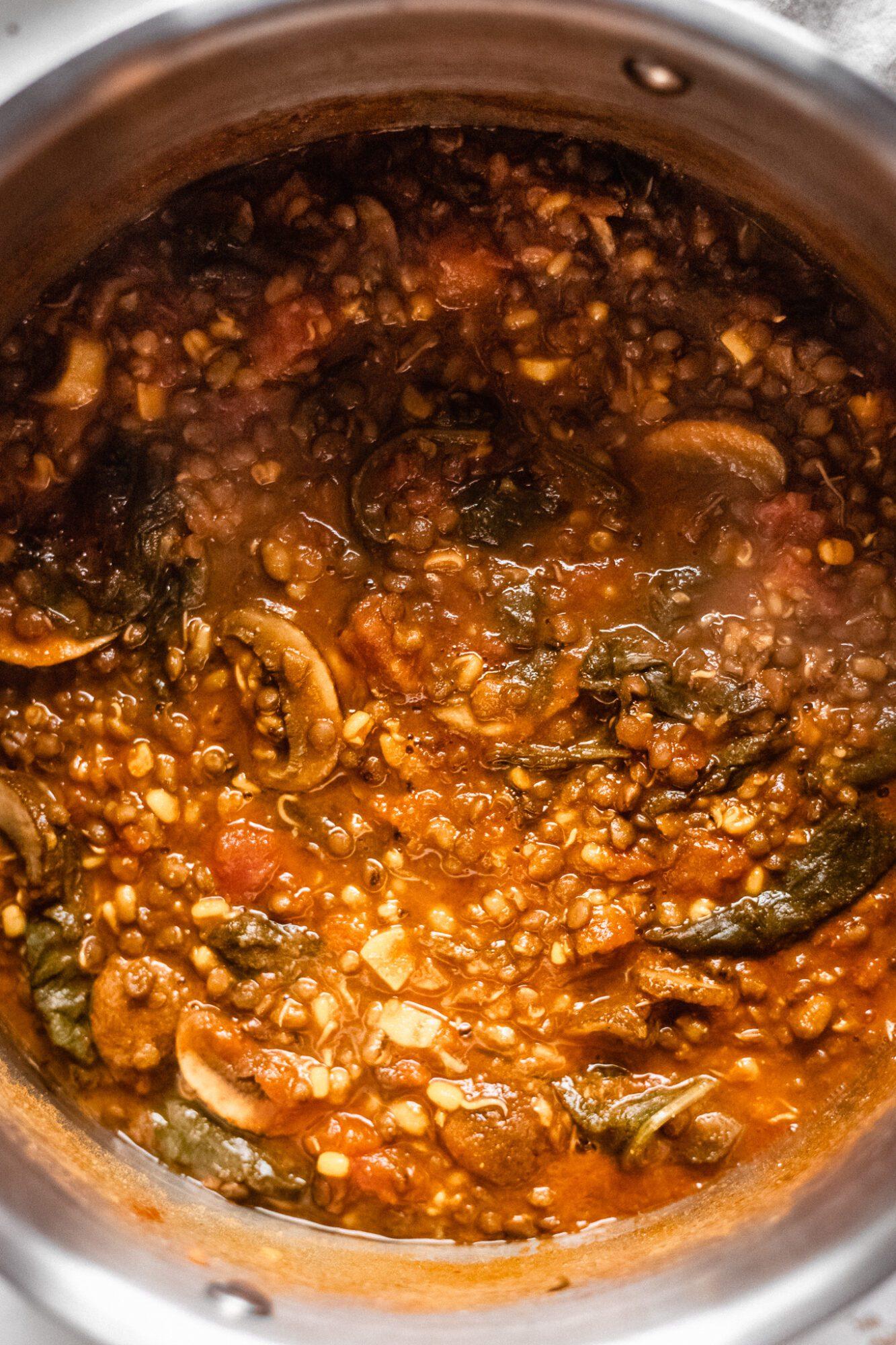 close up of lentil soup in pot