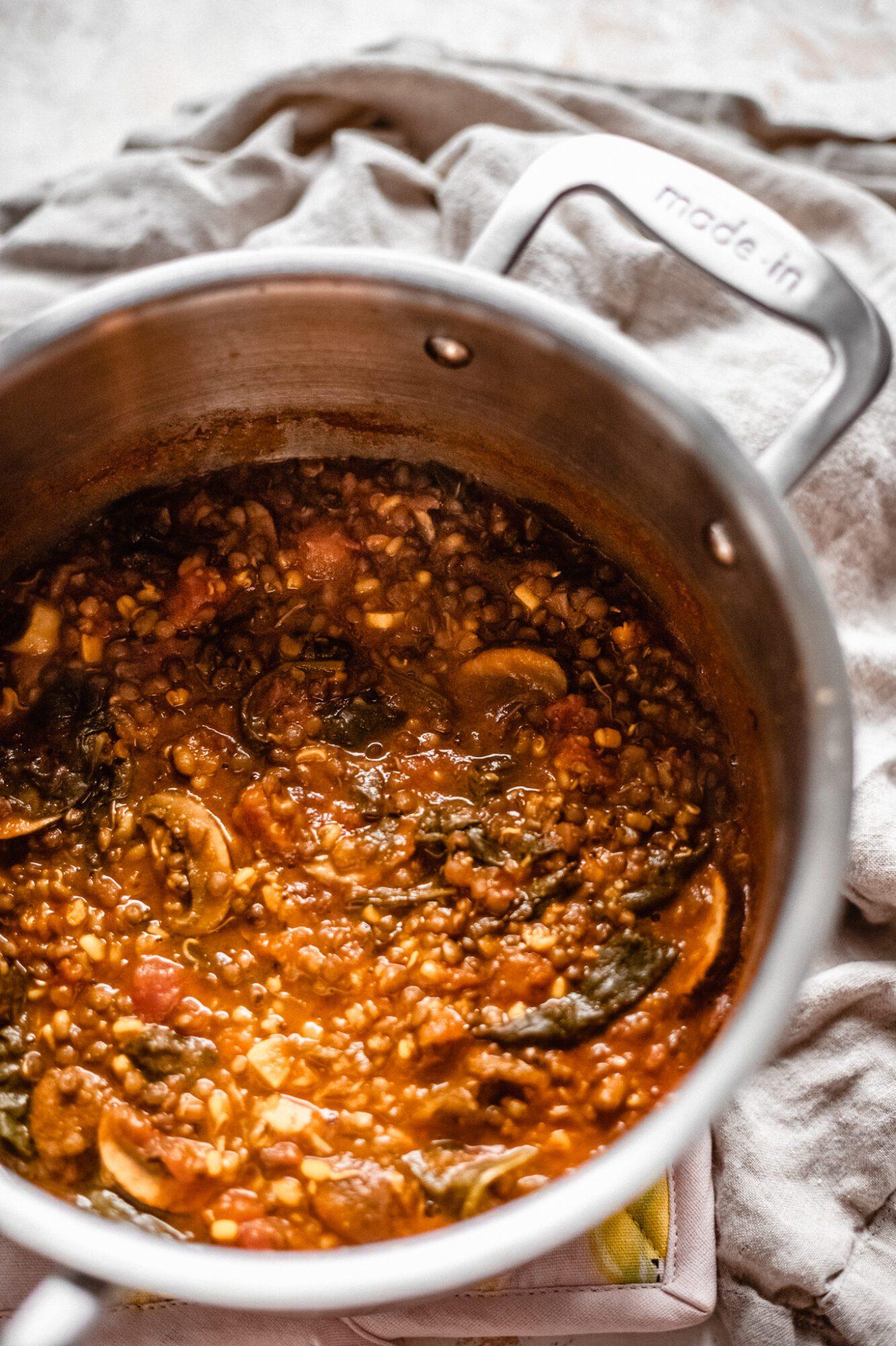 pot of vegan lentil soup
