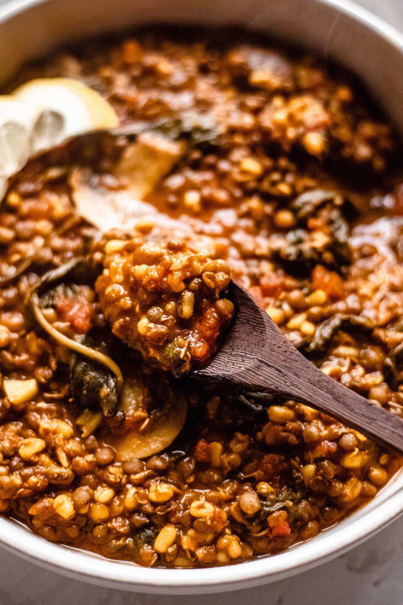 spoon with lentil soup