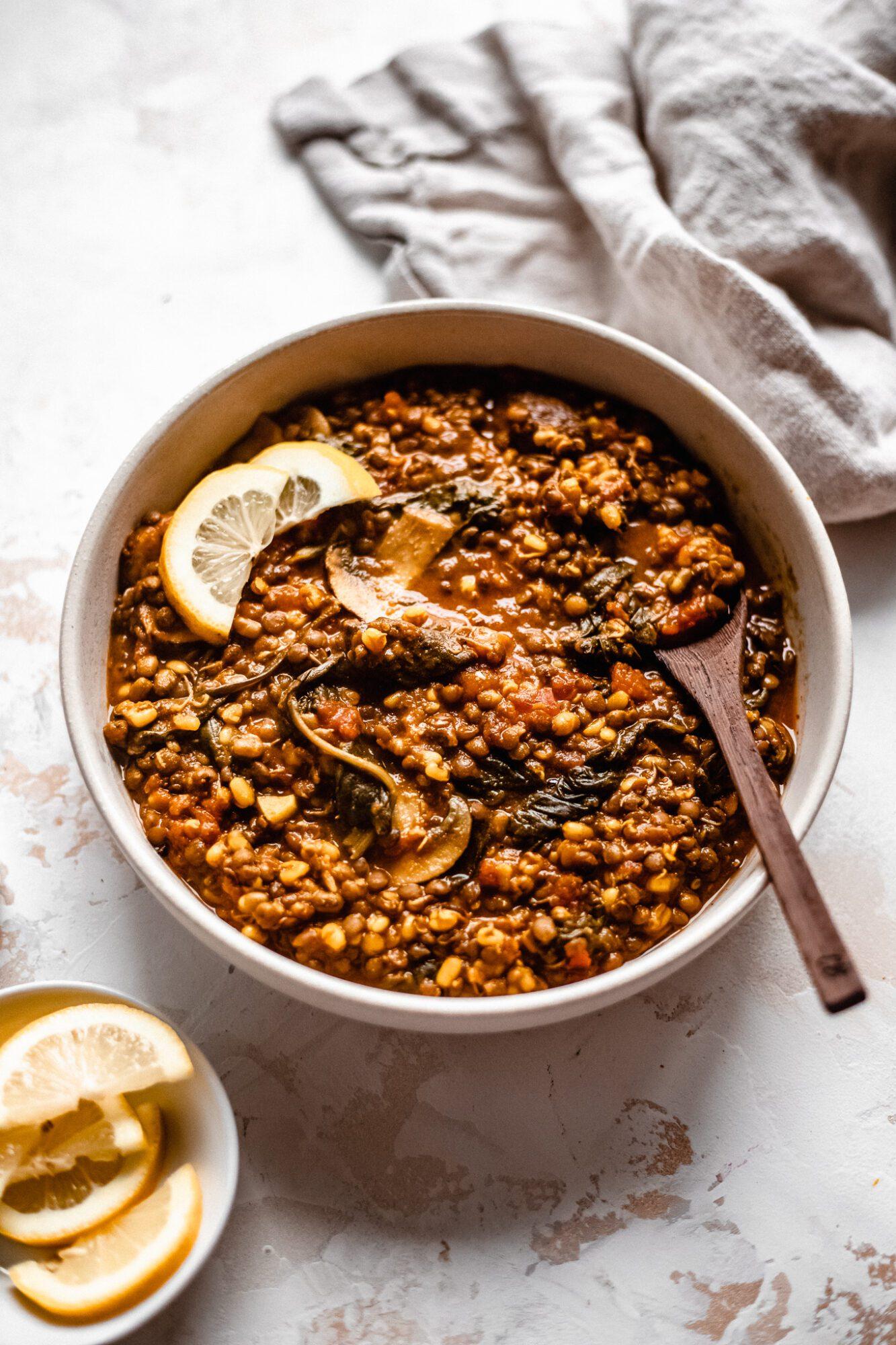 vegan lentil soup in bowl