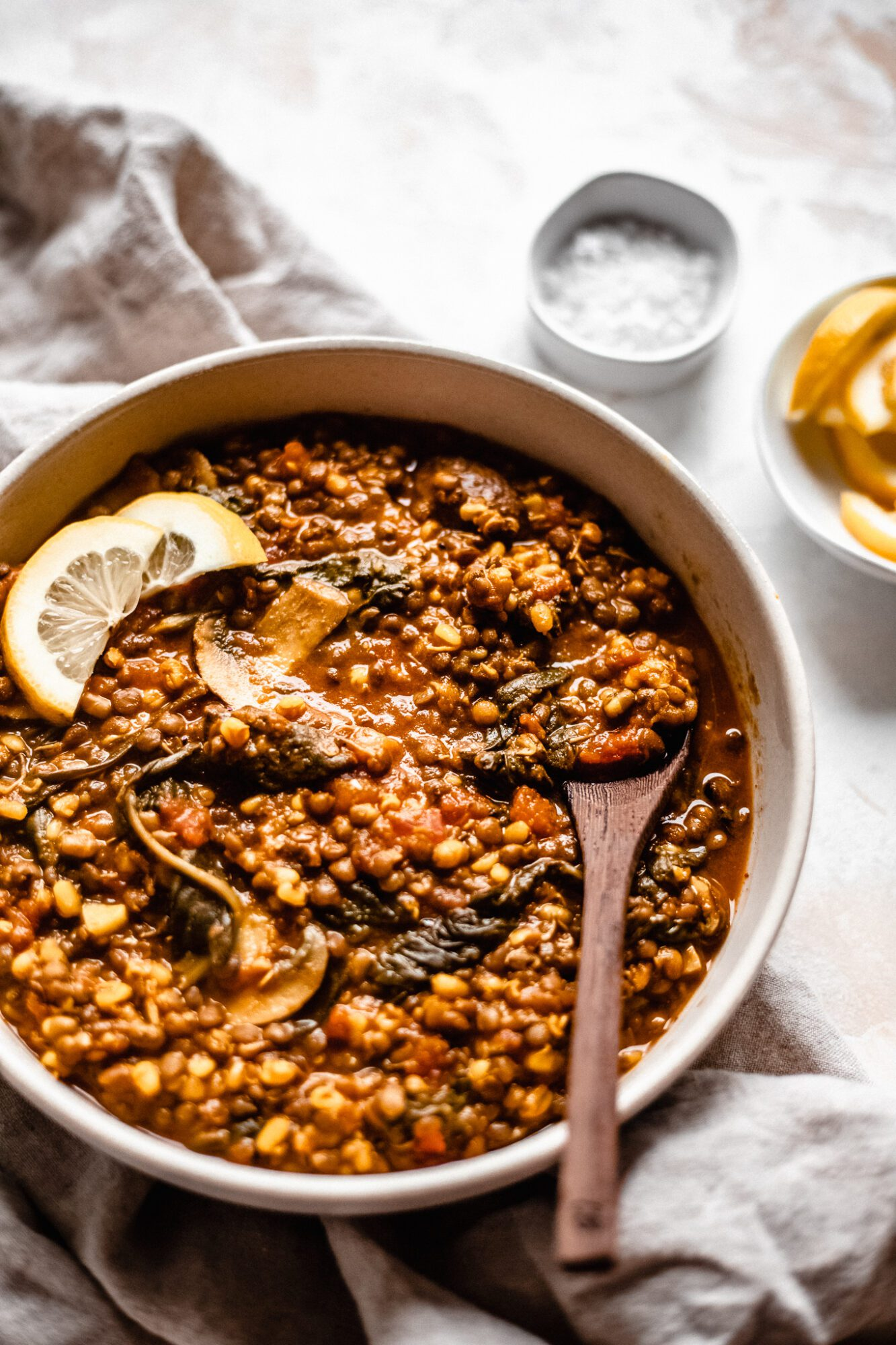 bowl of vegan lentil soup