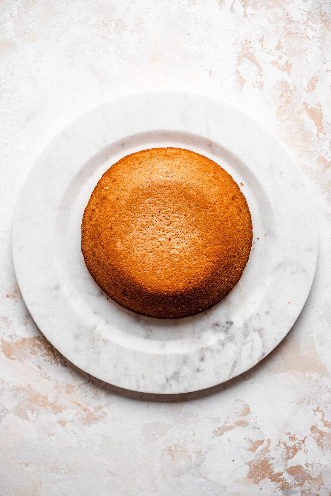 vegan vanilla cake on a plate