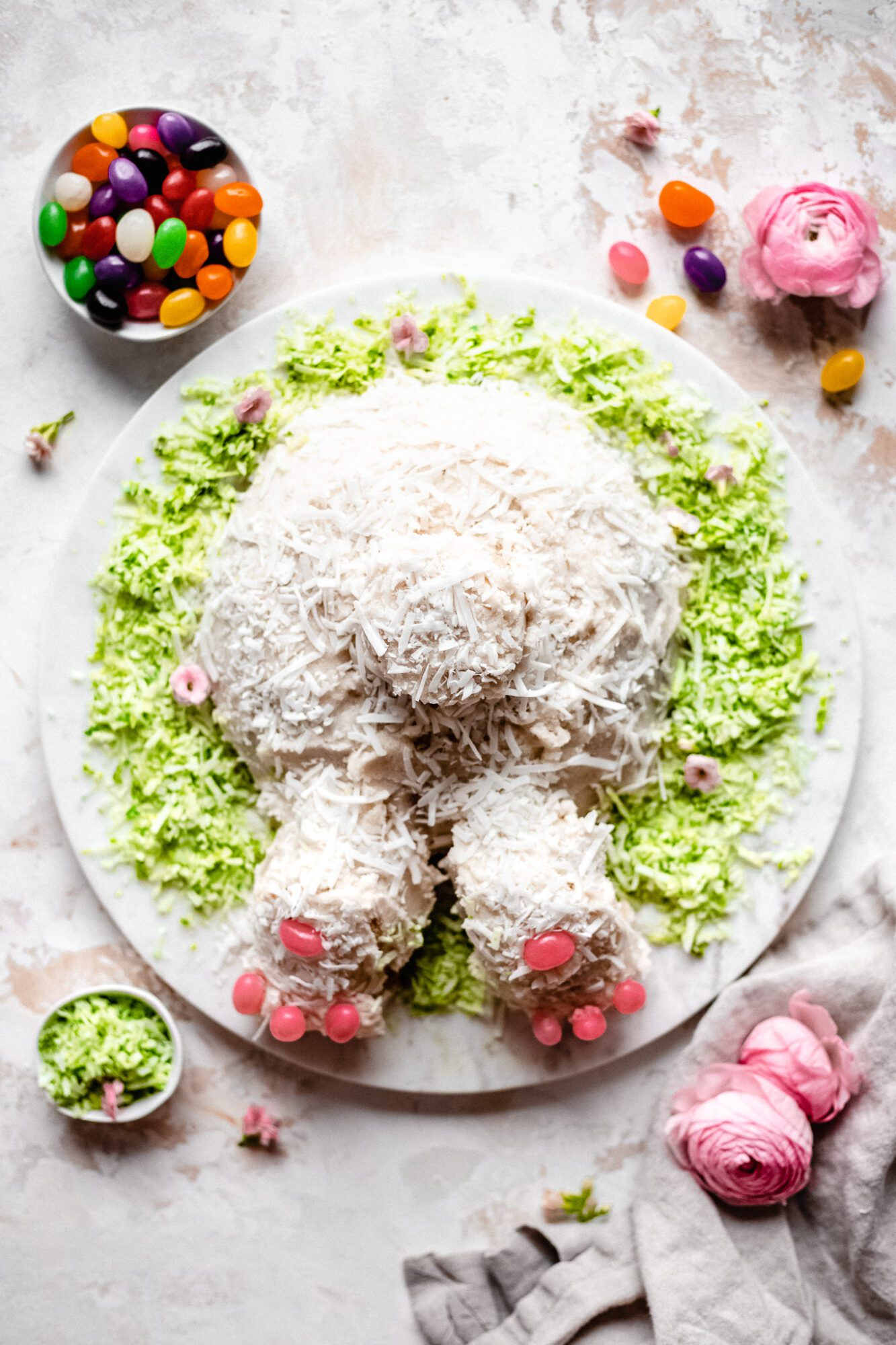 bunny cake with jelly beans