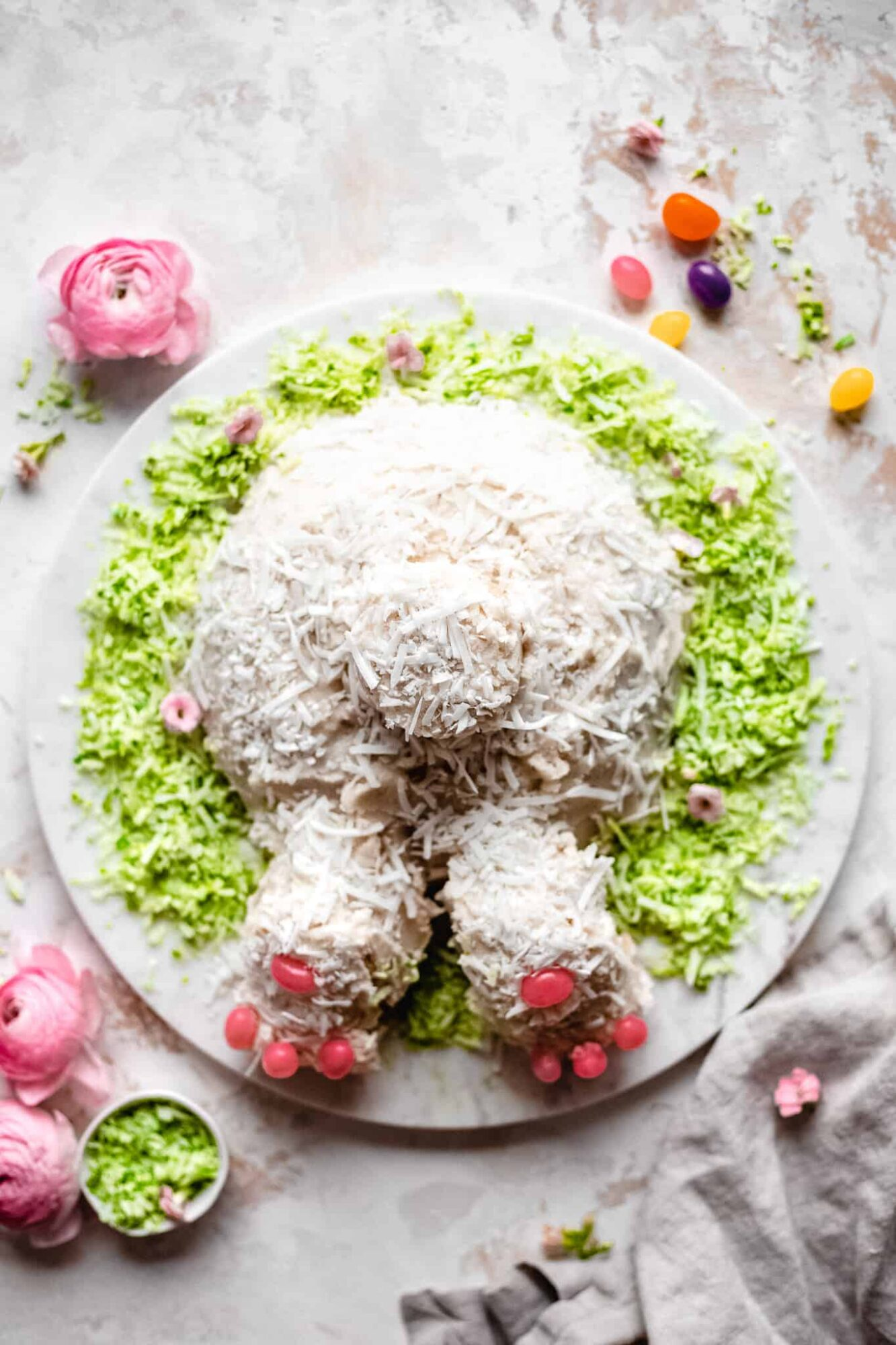 Bunny butt cake on a plate