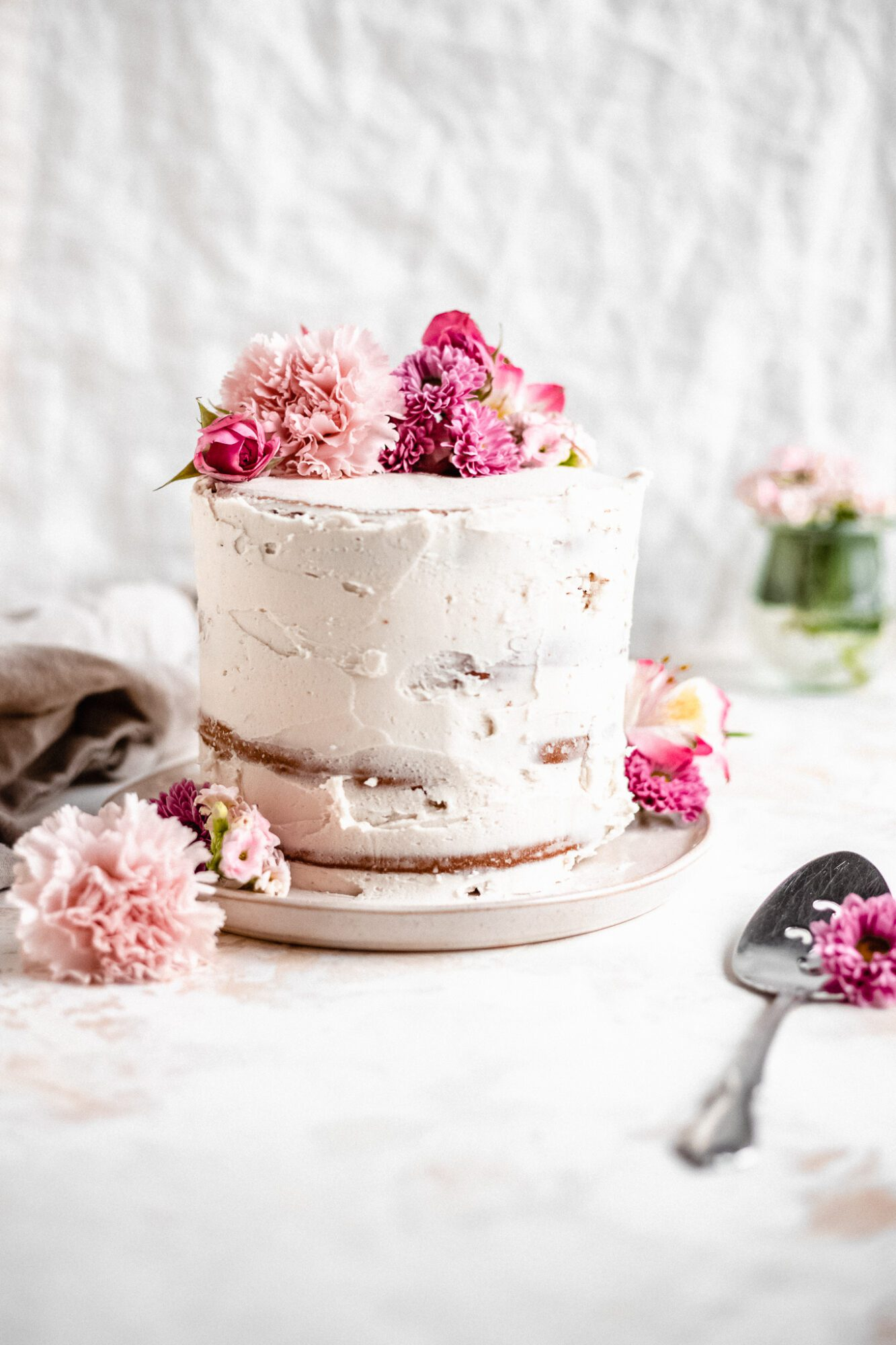 vegan cake with flowers