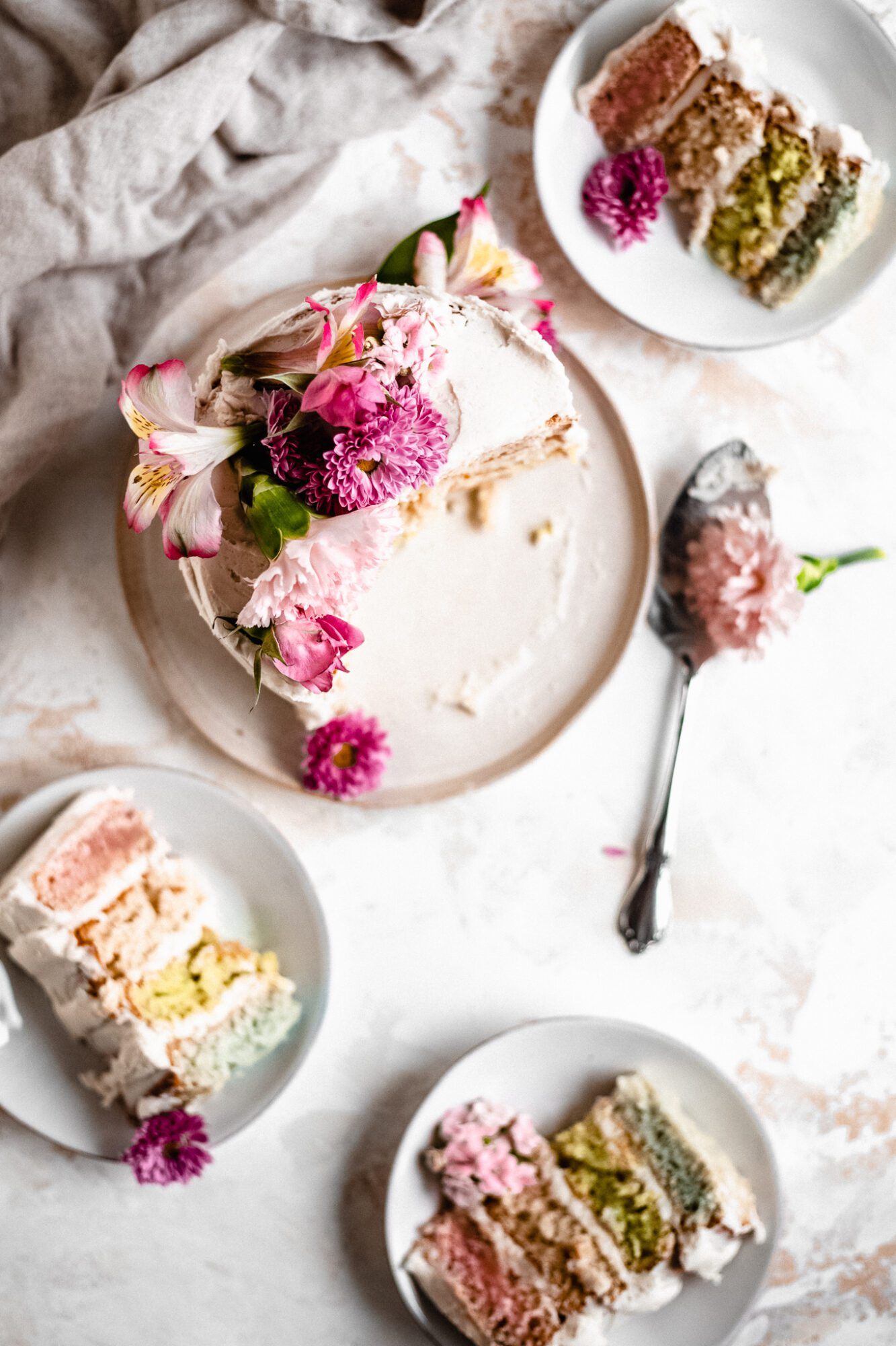 overhead of vegan pastel cake on plates