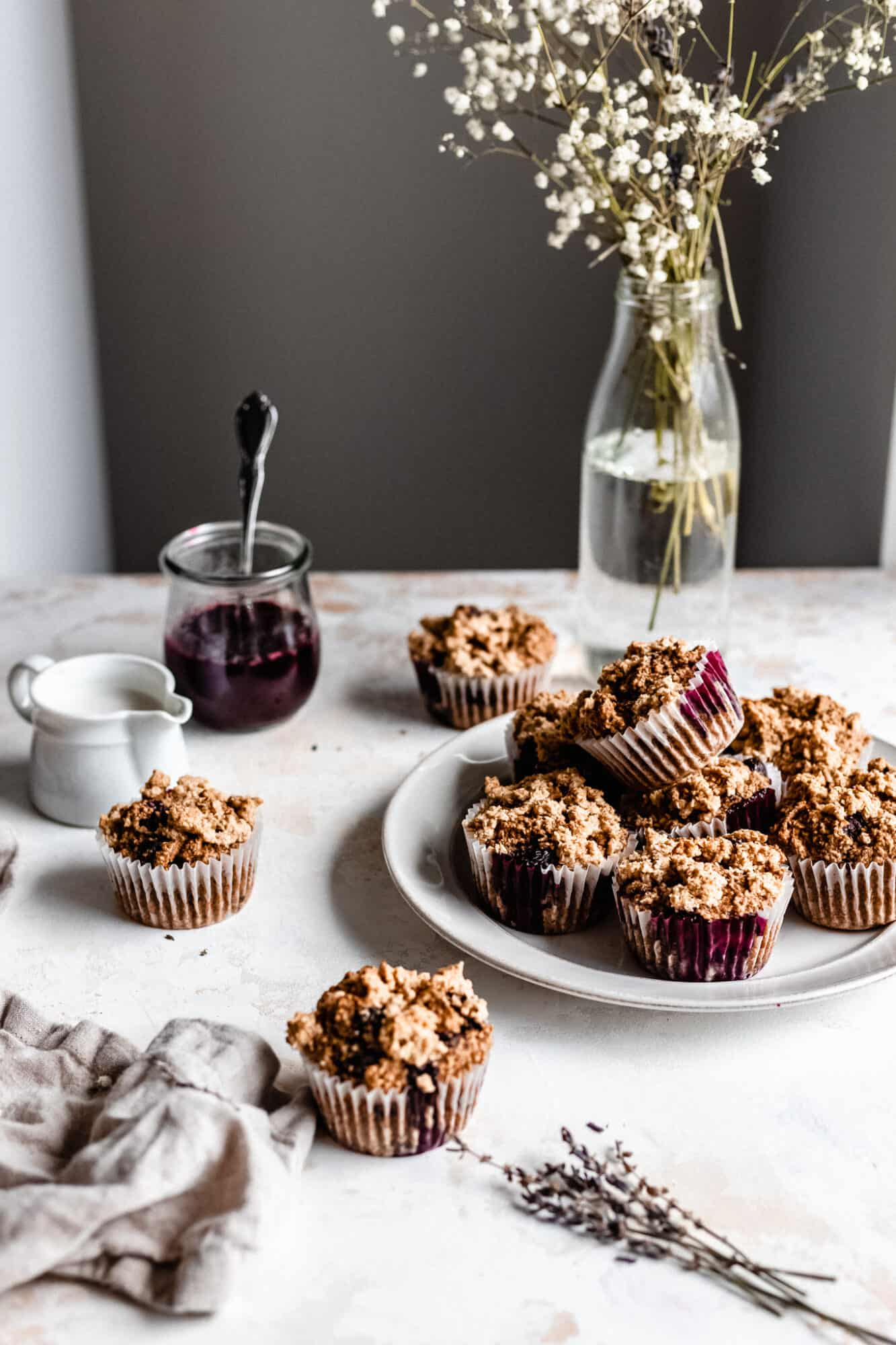vegan blueberry muffins on plate