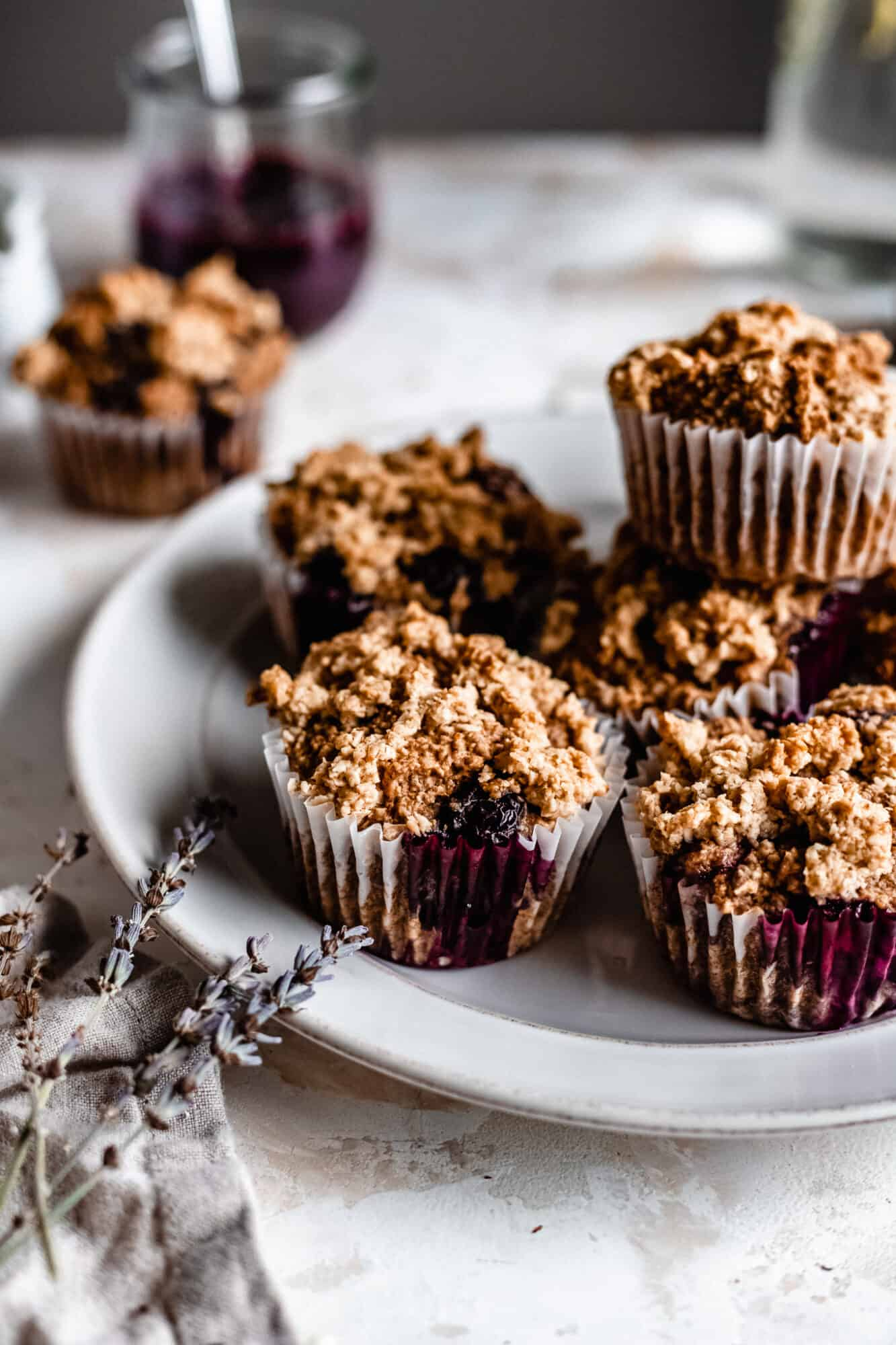 plate of vegan blueberry muffins