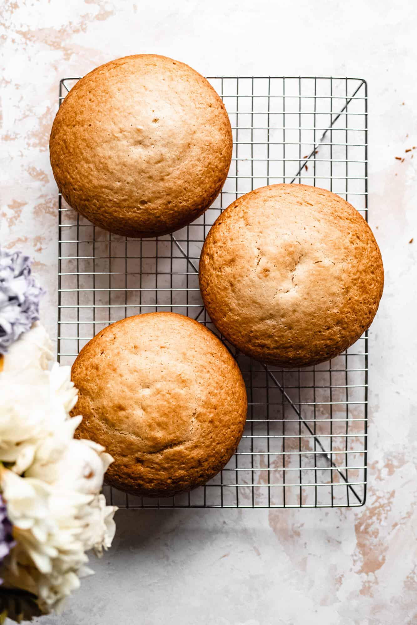 gluten free vegan vanilla cakes on drying rack