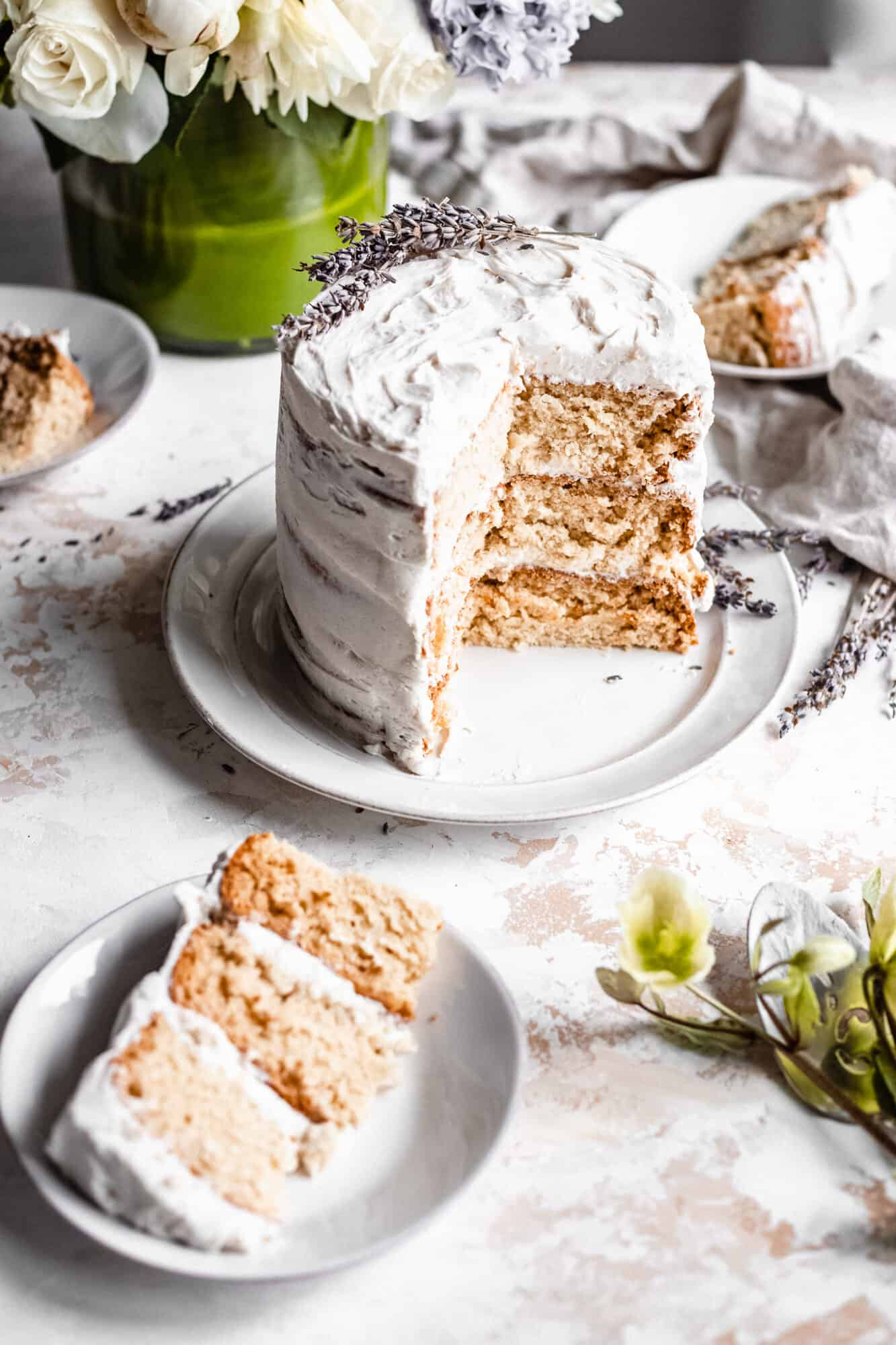 slices of vegan vanilla cake