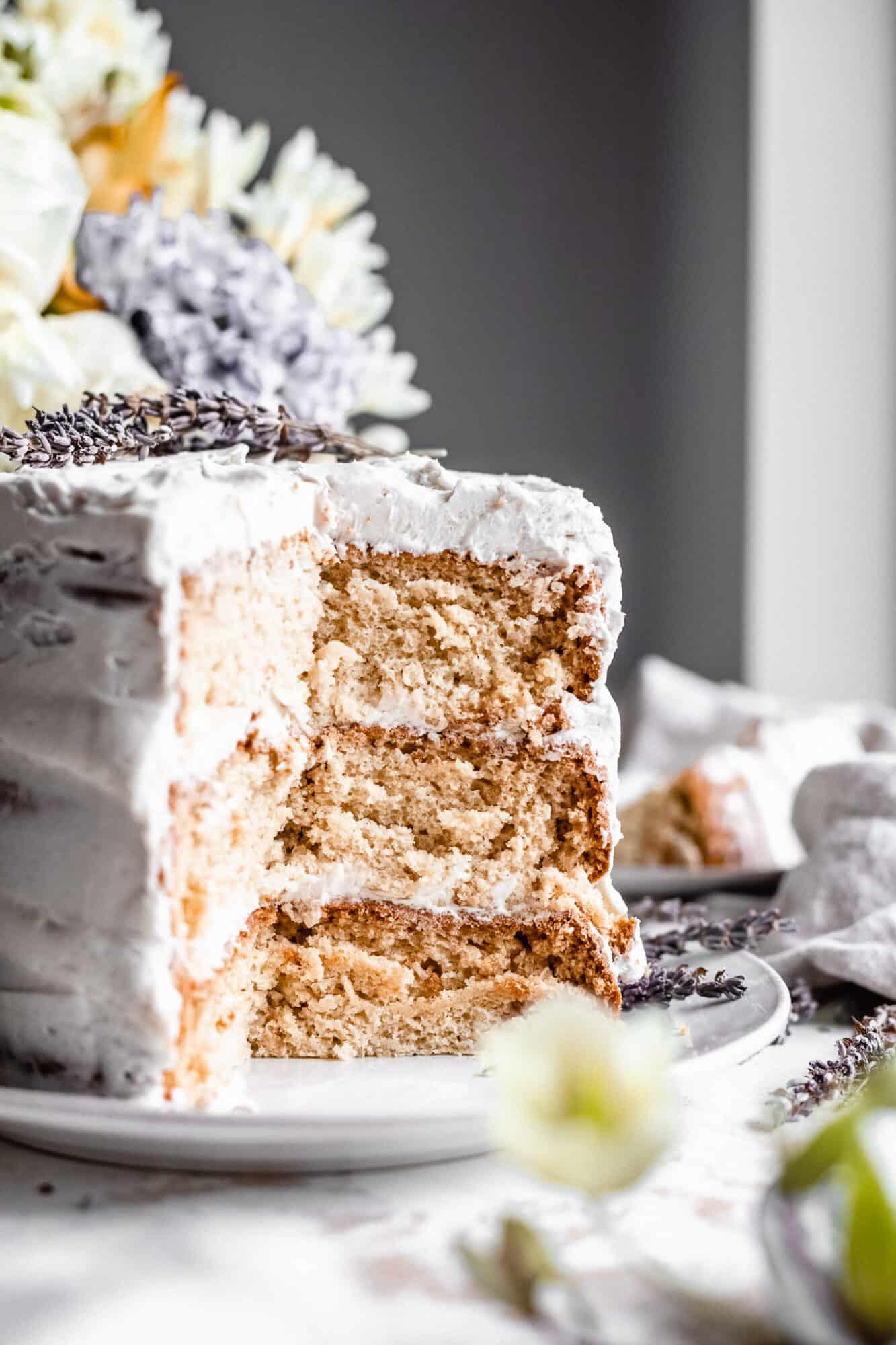 close up of layers of vegan cake