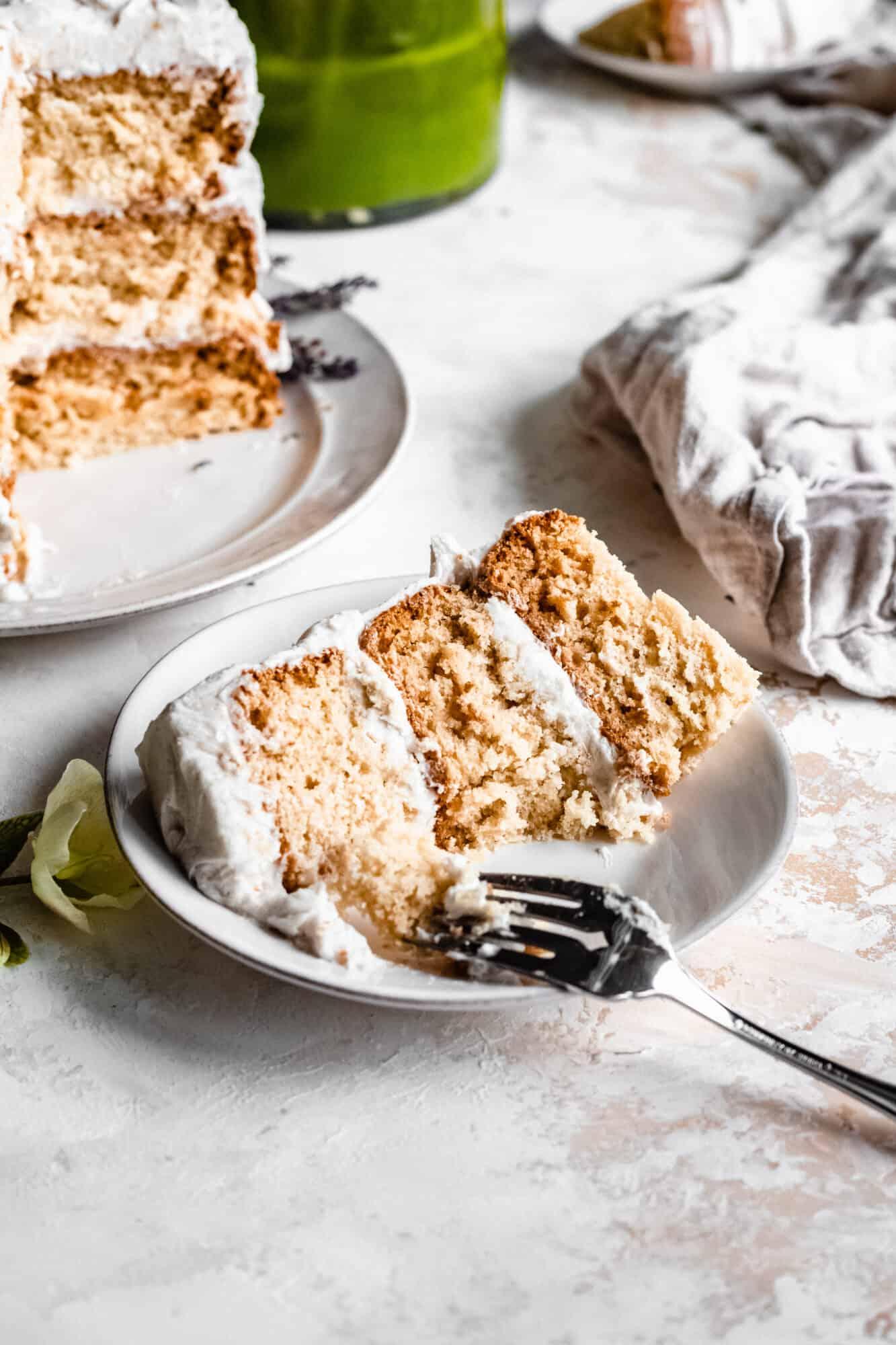 slice of healthy vegan vanilla cake