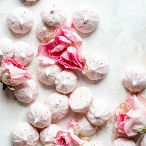 vegan meringue cookies with roses