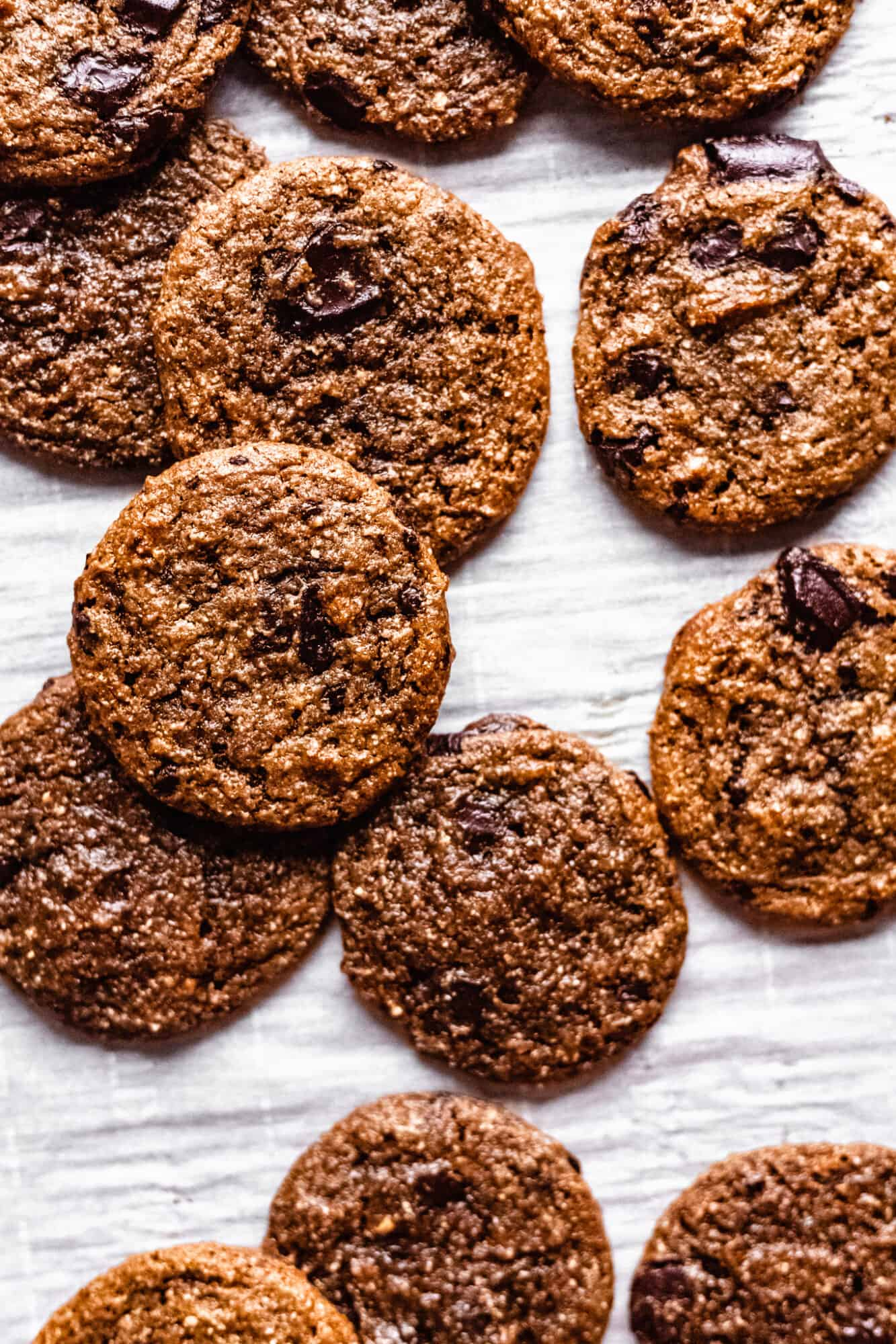 flourless chocolate chip cookies on a baking sheet