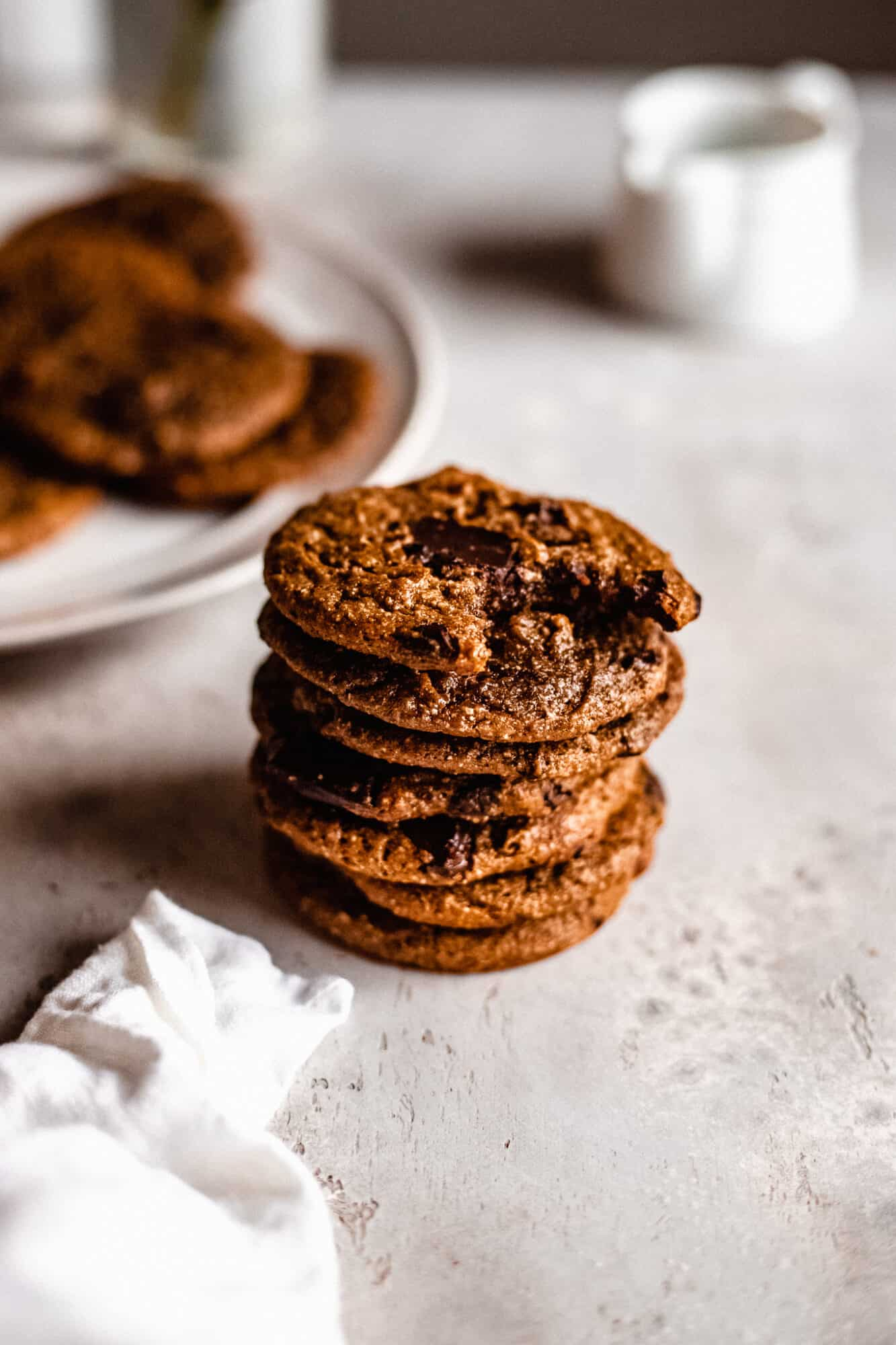 stack of flourless chocolate chip cookies