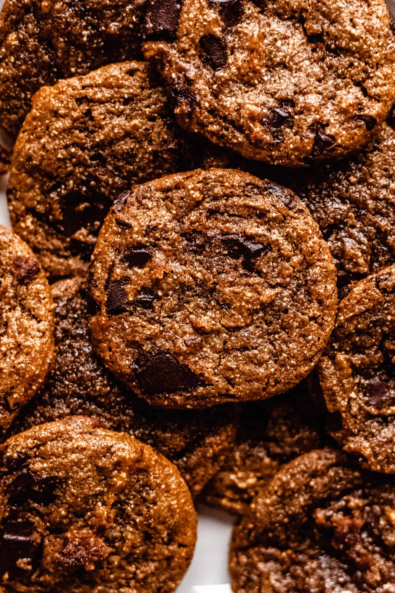 close up of flourless peanut butter chocolate chip cookies
