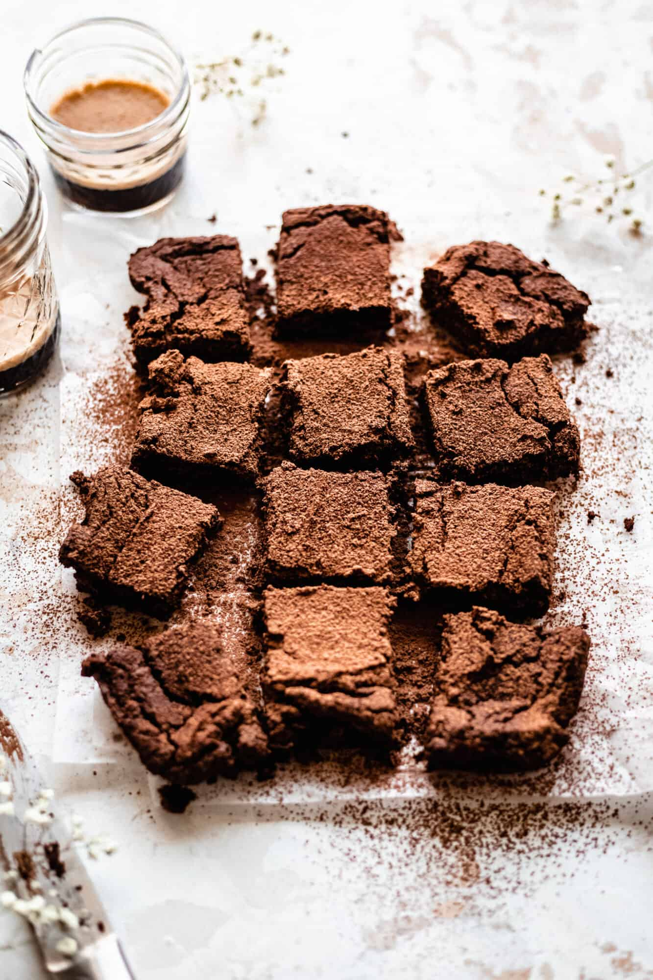 parchment paper lined chickpea brownies