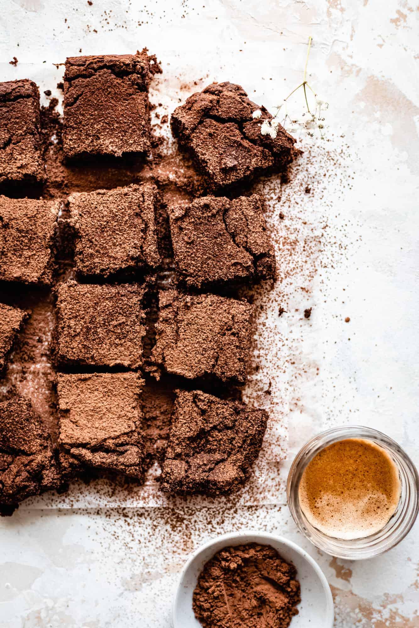 close up of sliced flourless brownies