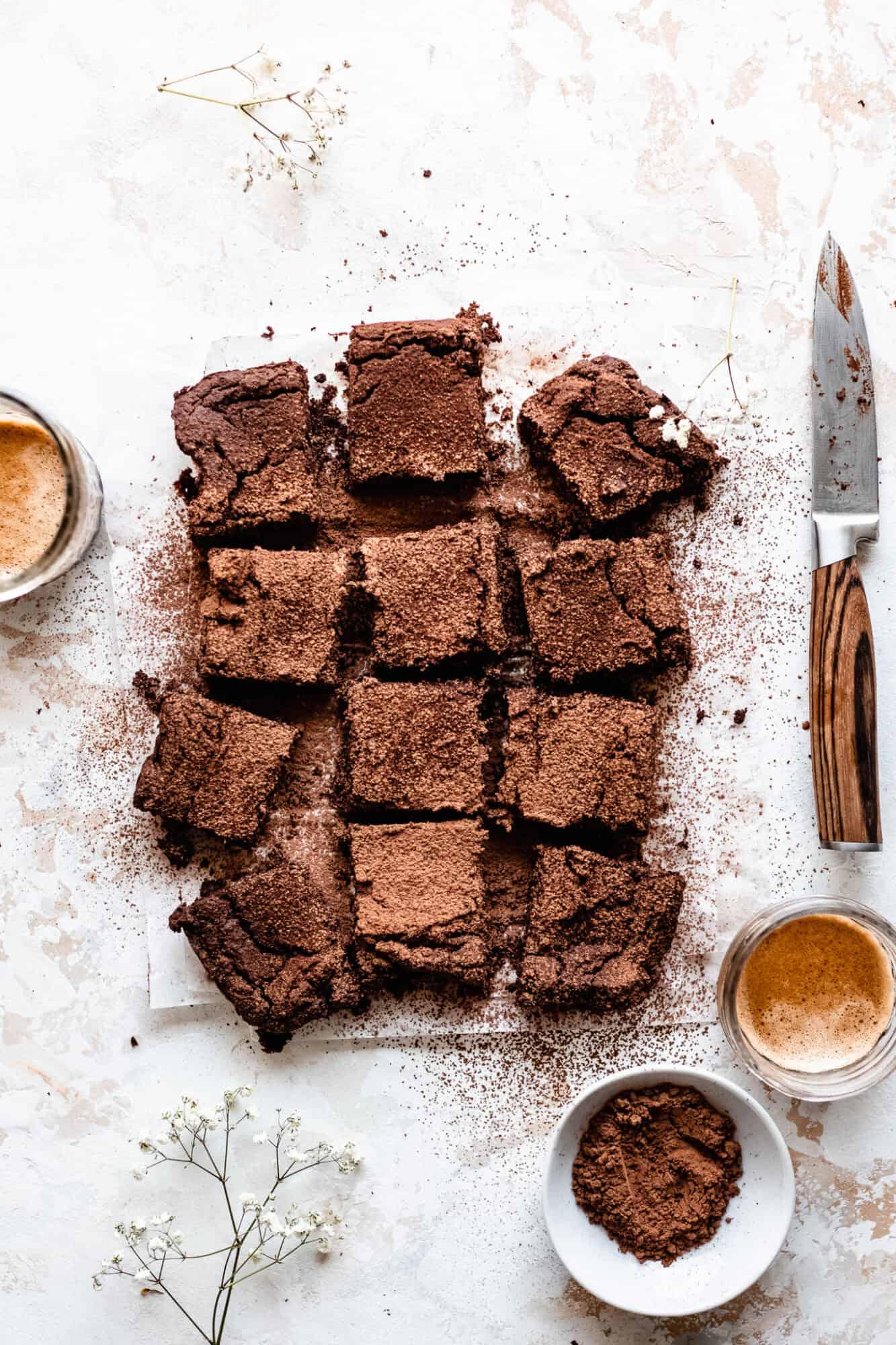 sliced flourless healthy chickpea brownies