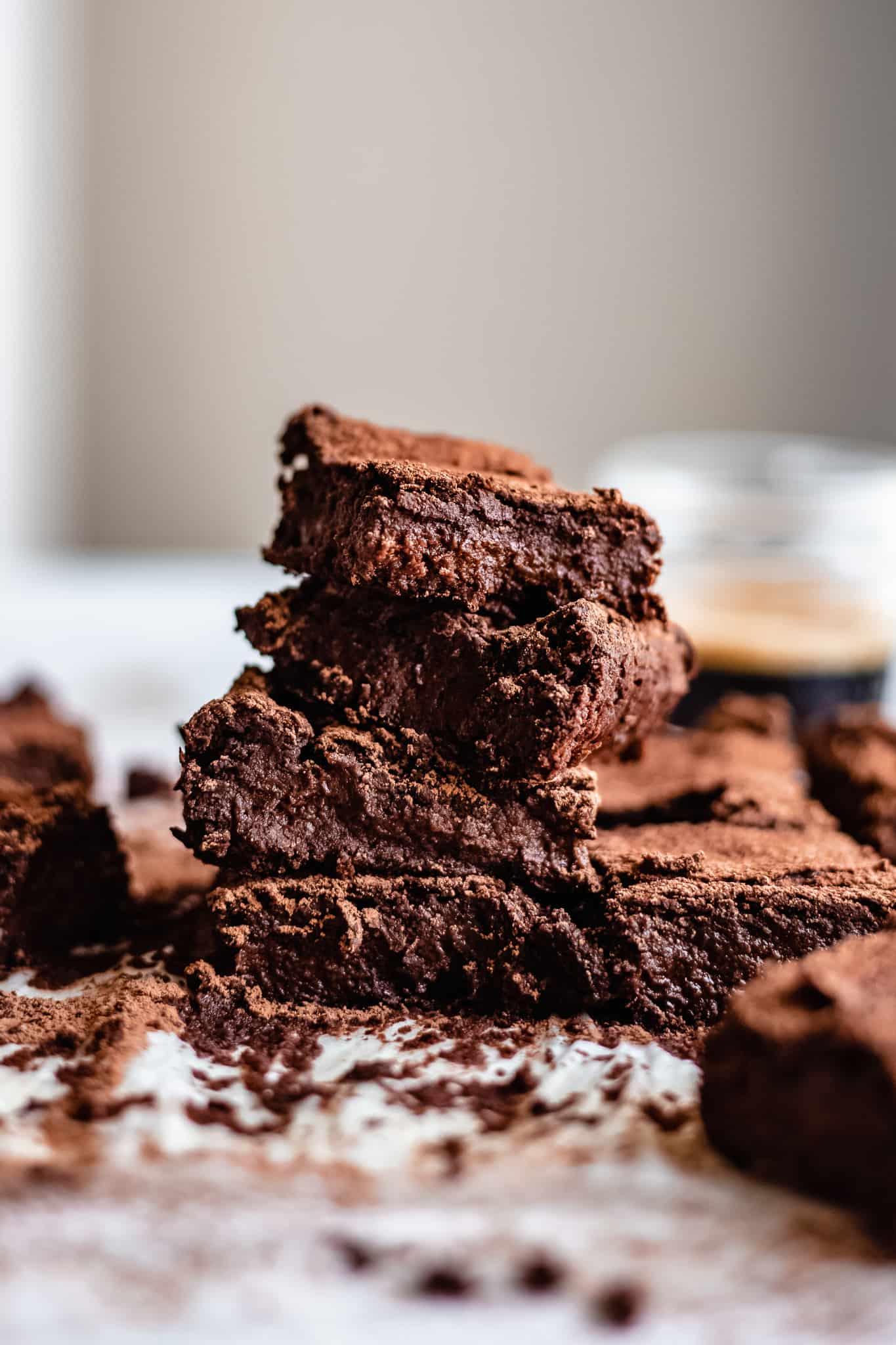 stack of healthy vegan chickpea brownies