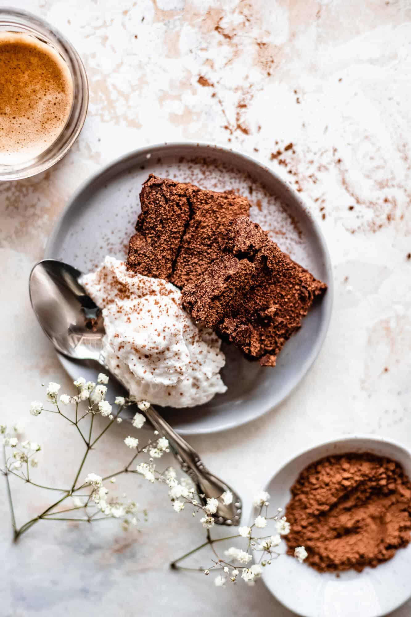 plate of vegan chickpea brownies