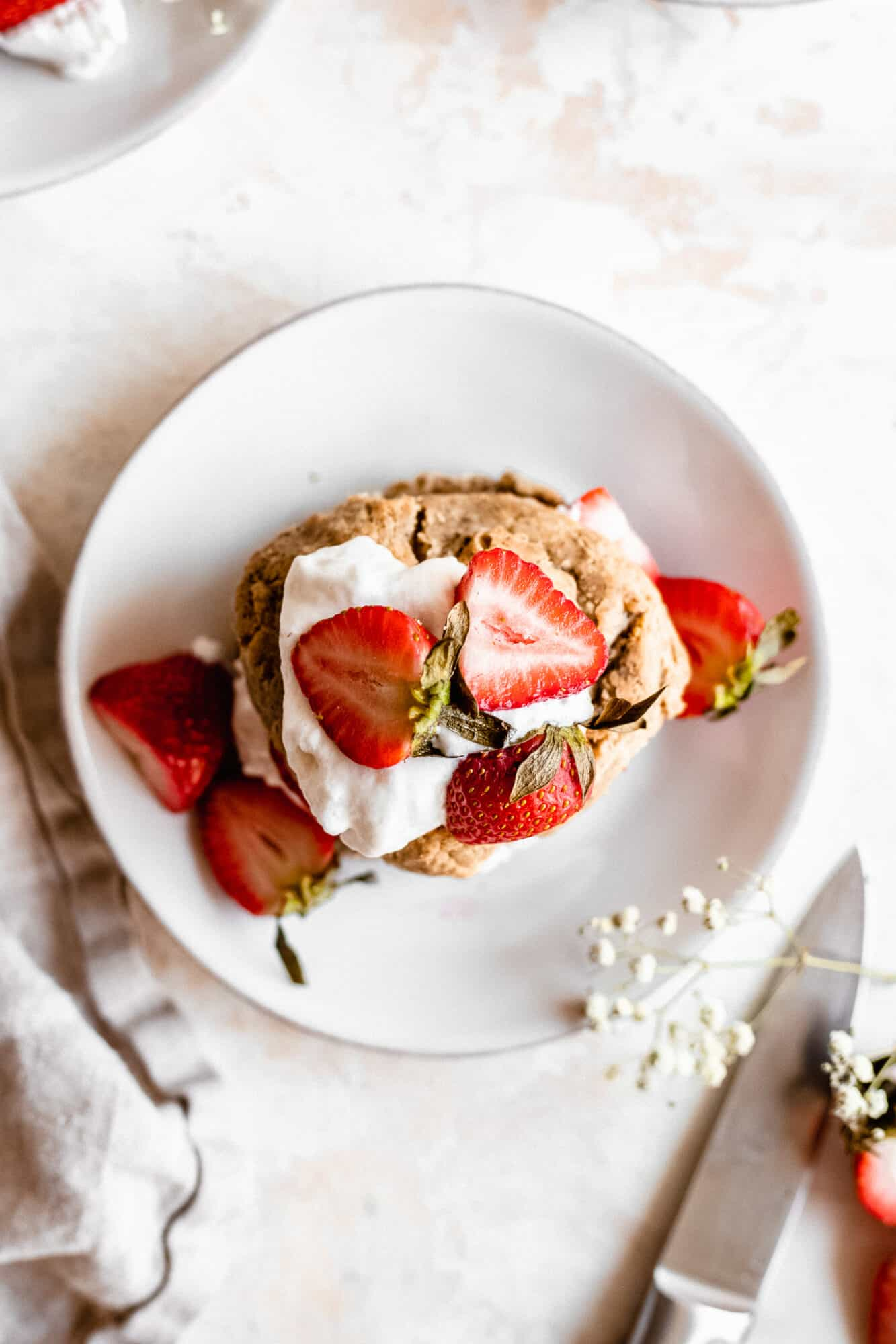 plate of strawberry shortcake