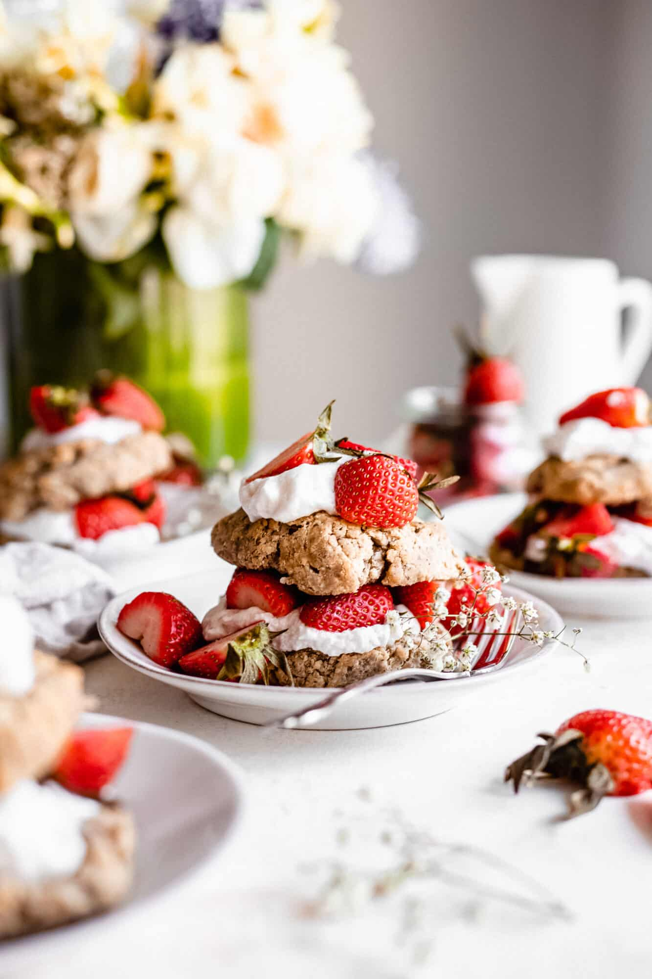 strawberry shortcakes on plate