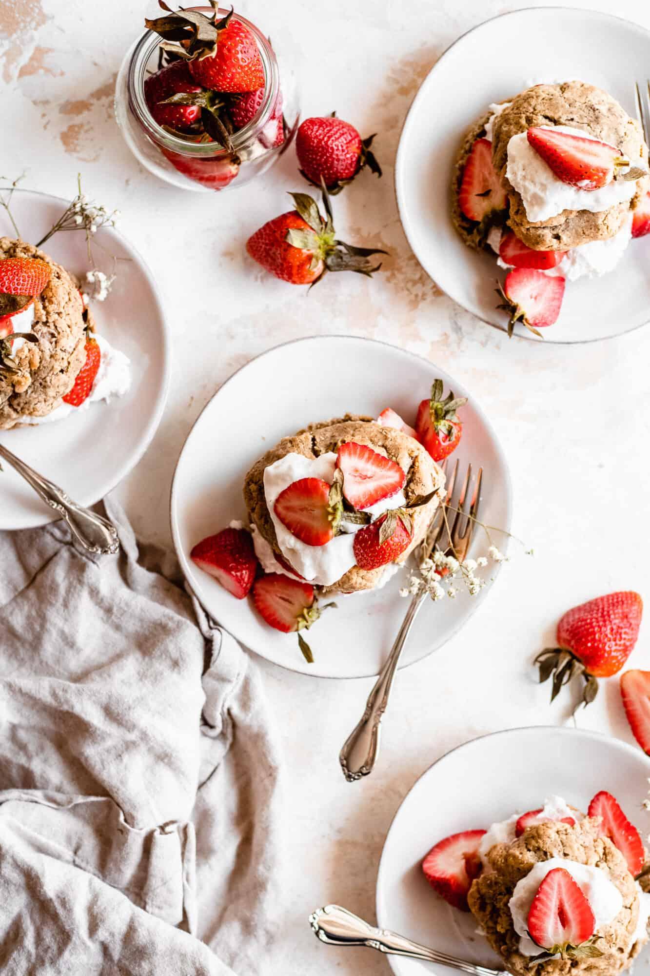 paleo strawberry shortcakes on plate
