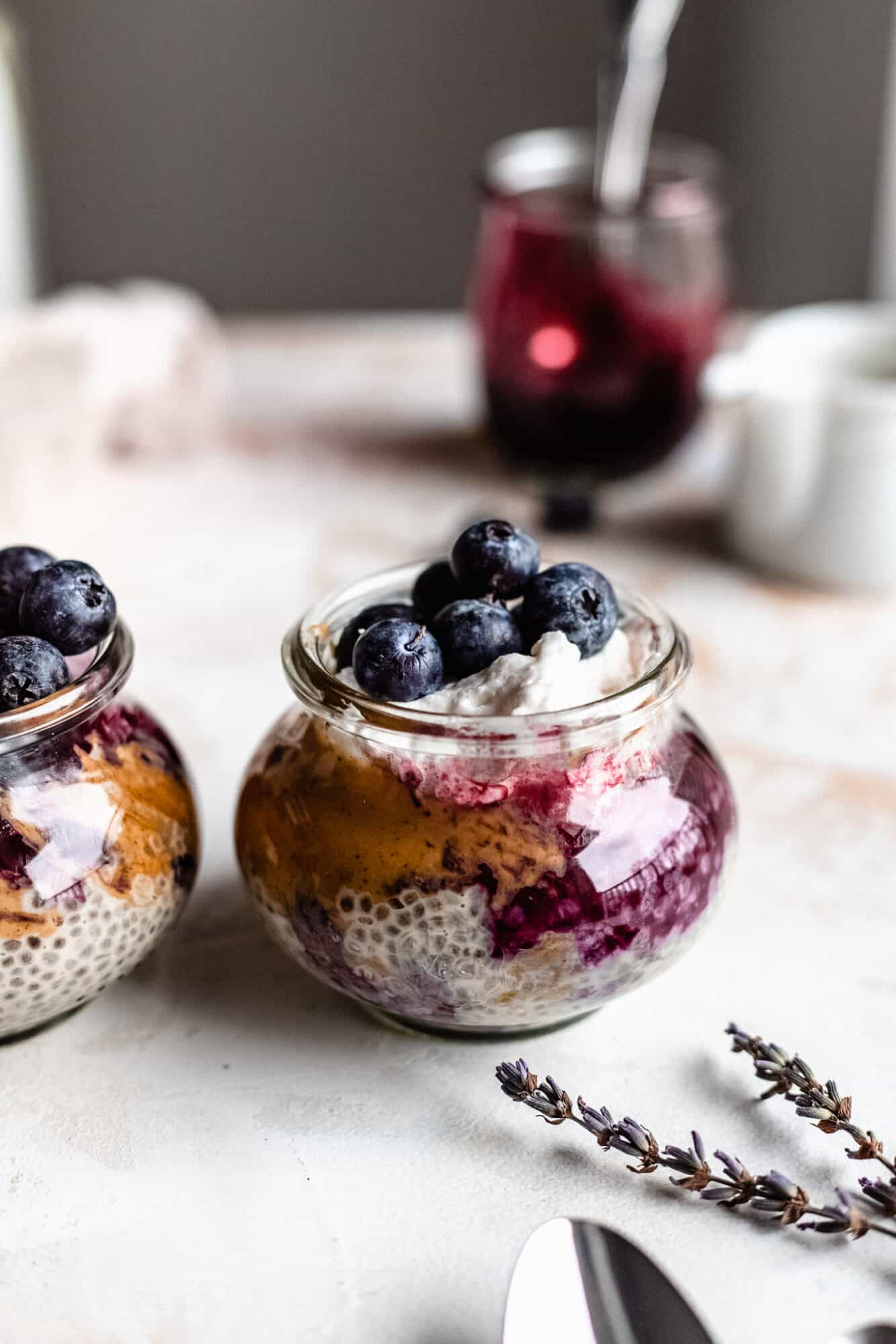 peanut butter chia pudding topped with blueberries