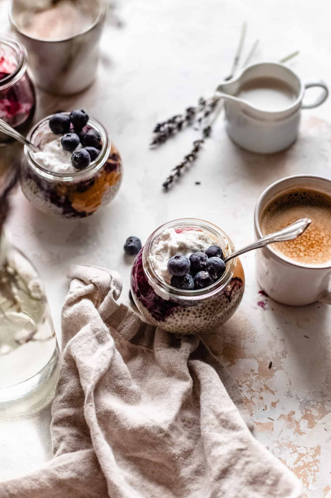 jars of chia pudding and coffee