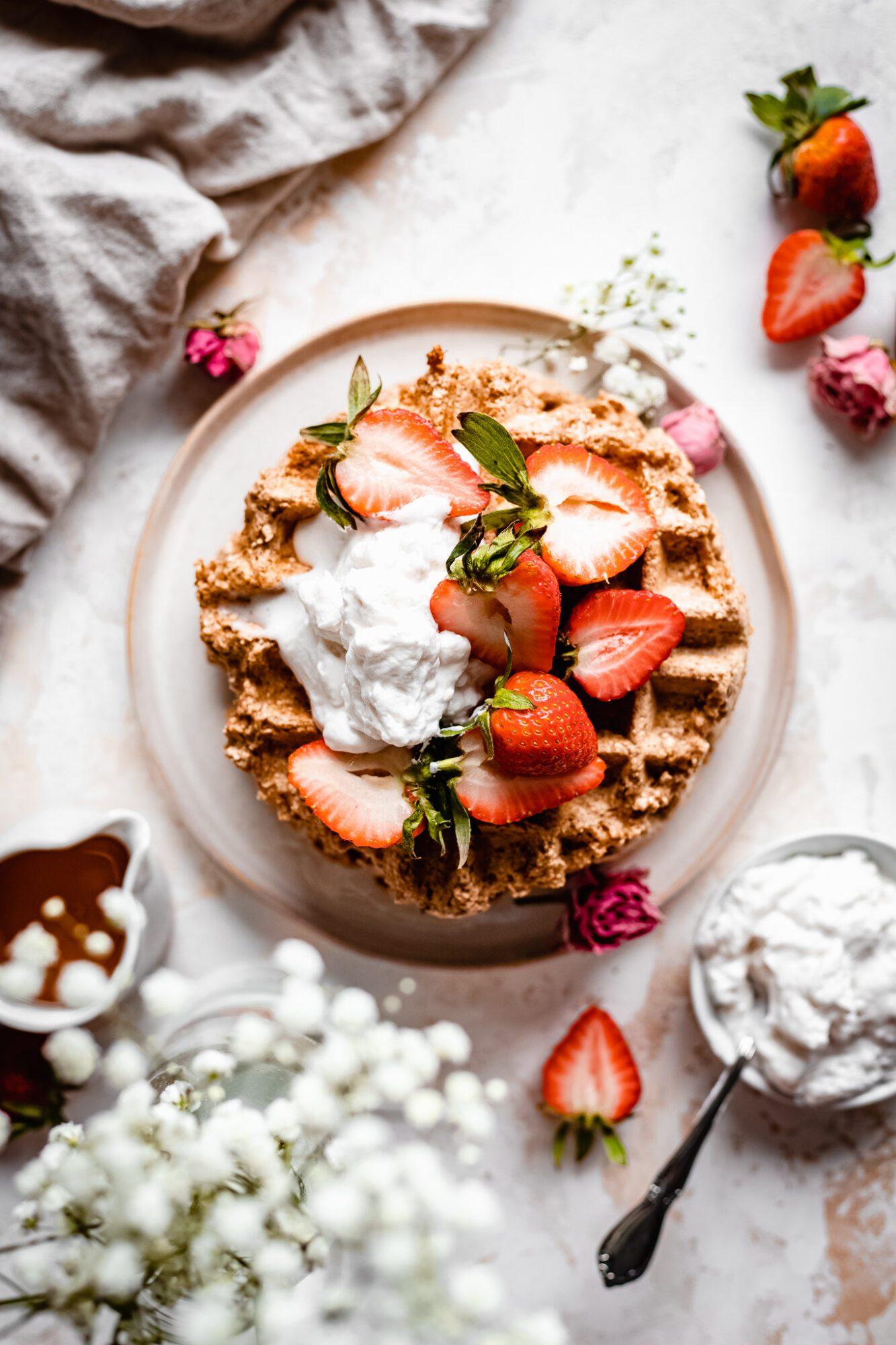 overhead of vegan gluten free waffles