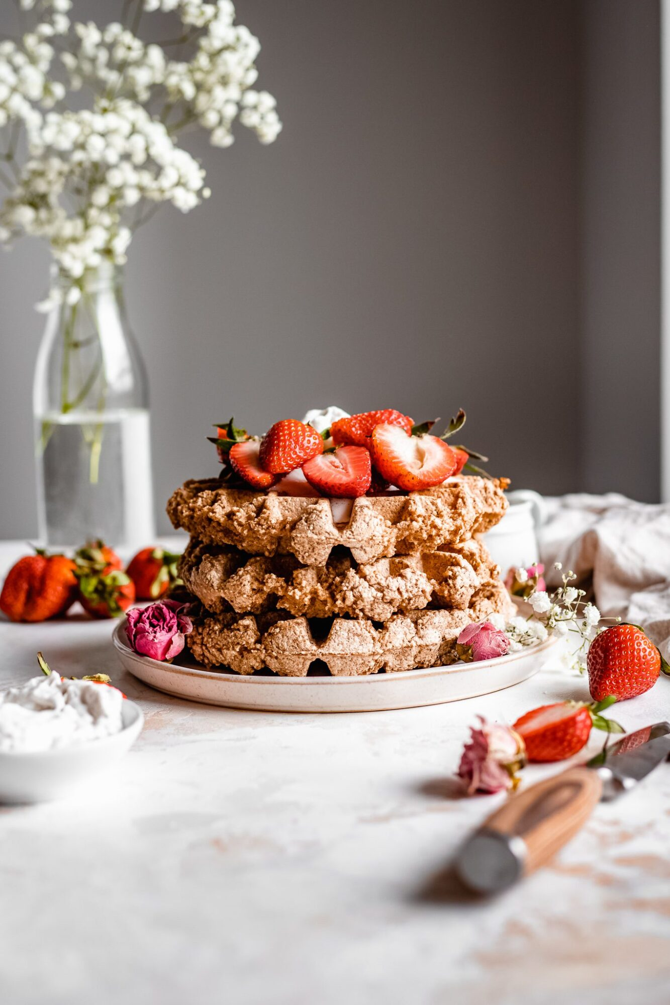 stack of vegan belgian waffles