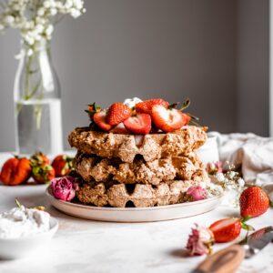 stack of vegan belgian waffles